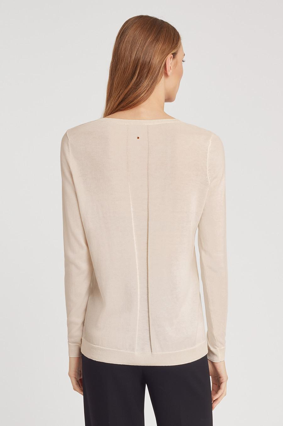 Women's Classic Cotton Cashmere V-Neck Sweater in Sand | Size: 2
