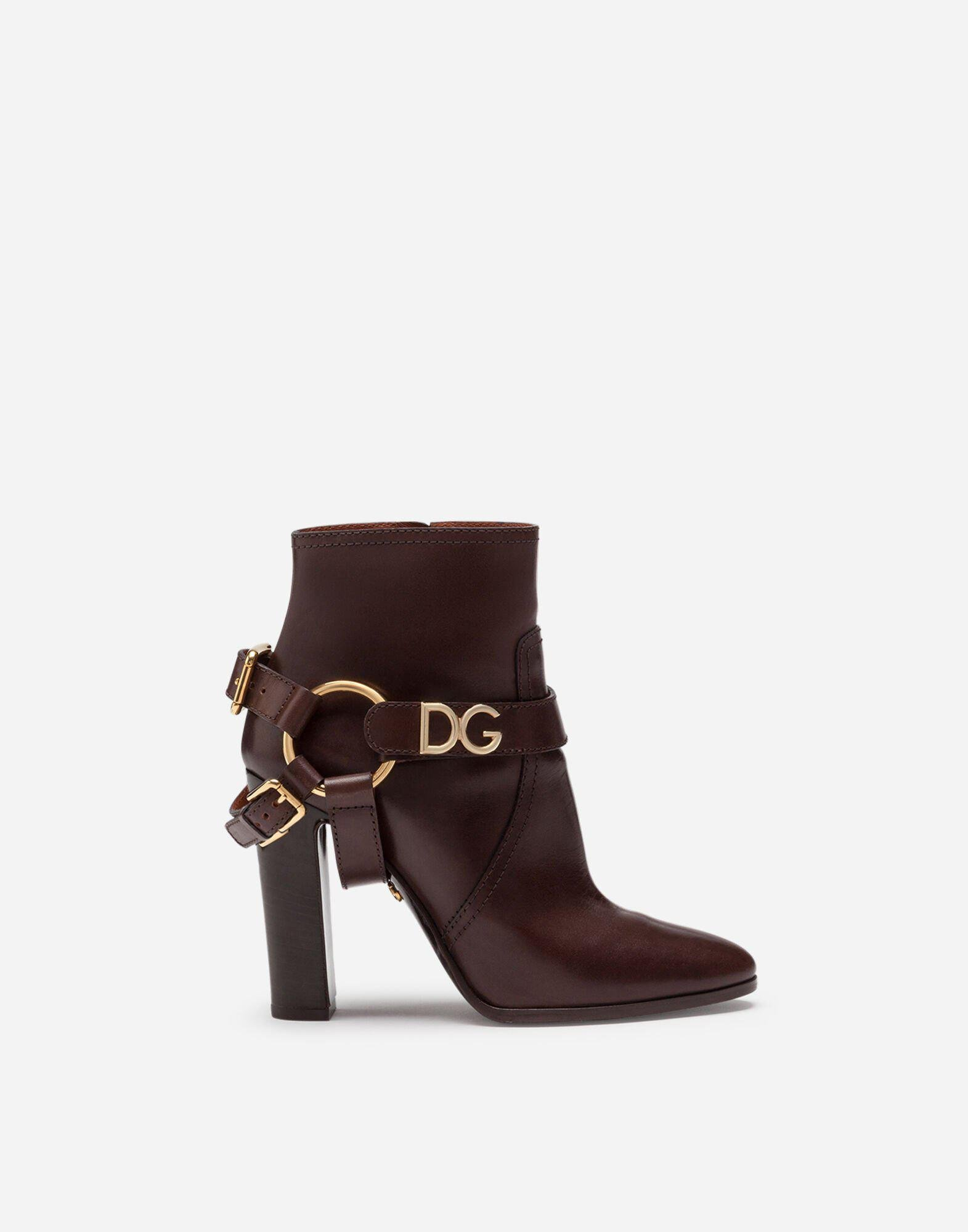 Ankle boots in cowhide with DG bracket logo 0