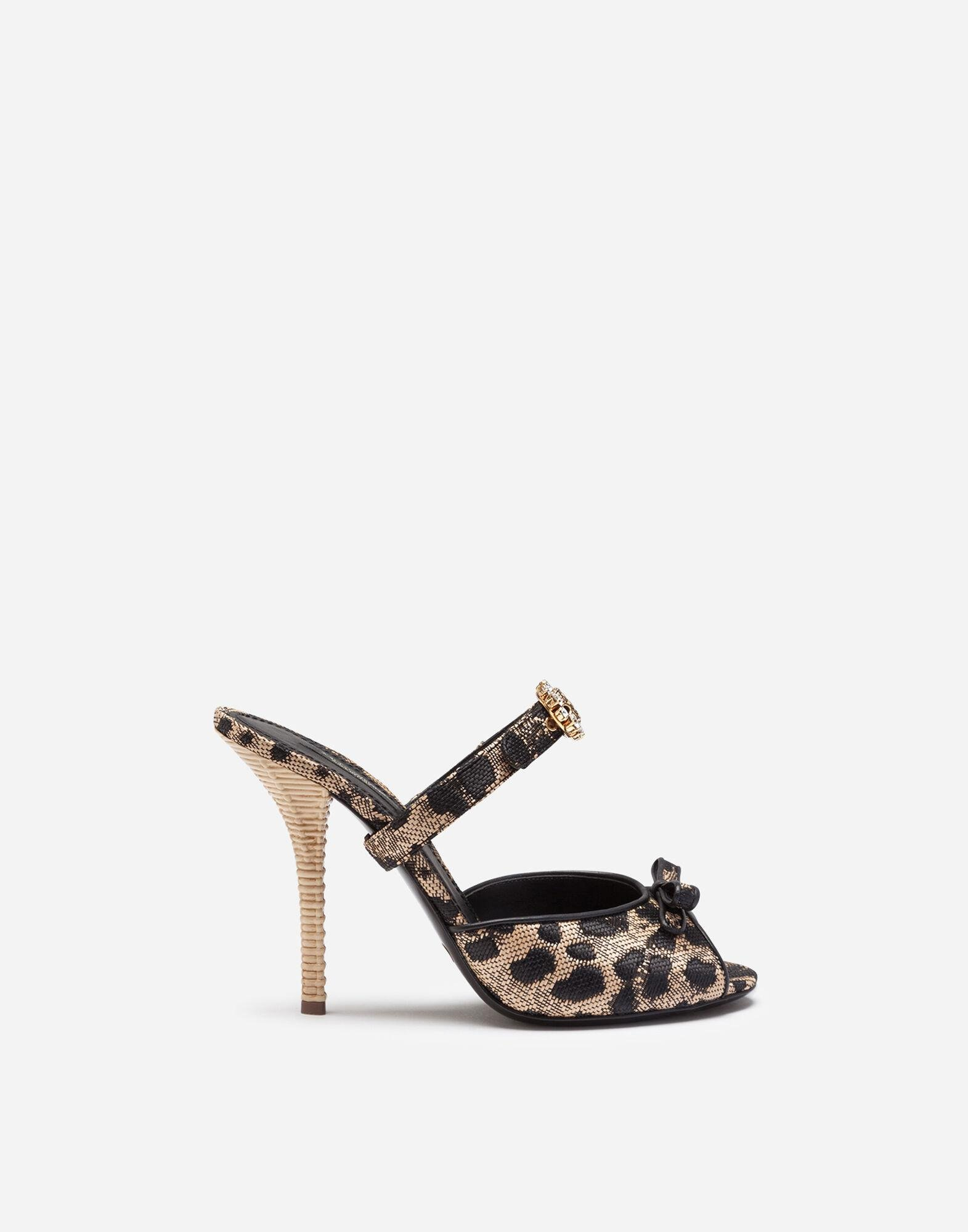 Mules in silk jacquard with leopard print and bejeweled buckle