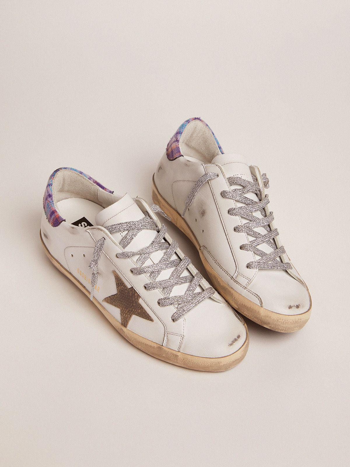 Super-Star sneakers with colored jacquard heel tab and snake-print suede star 1