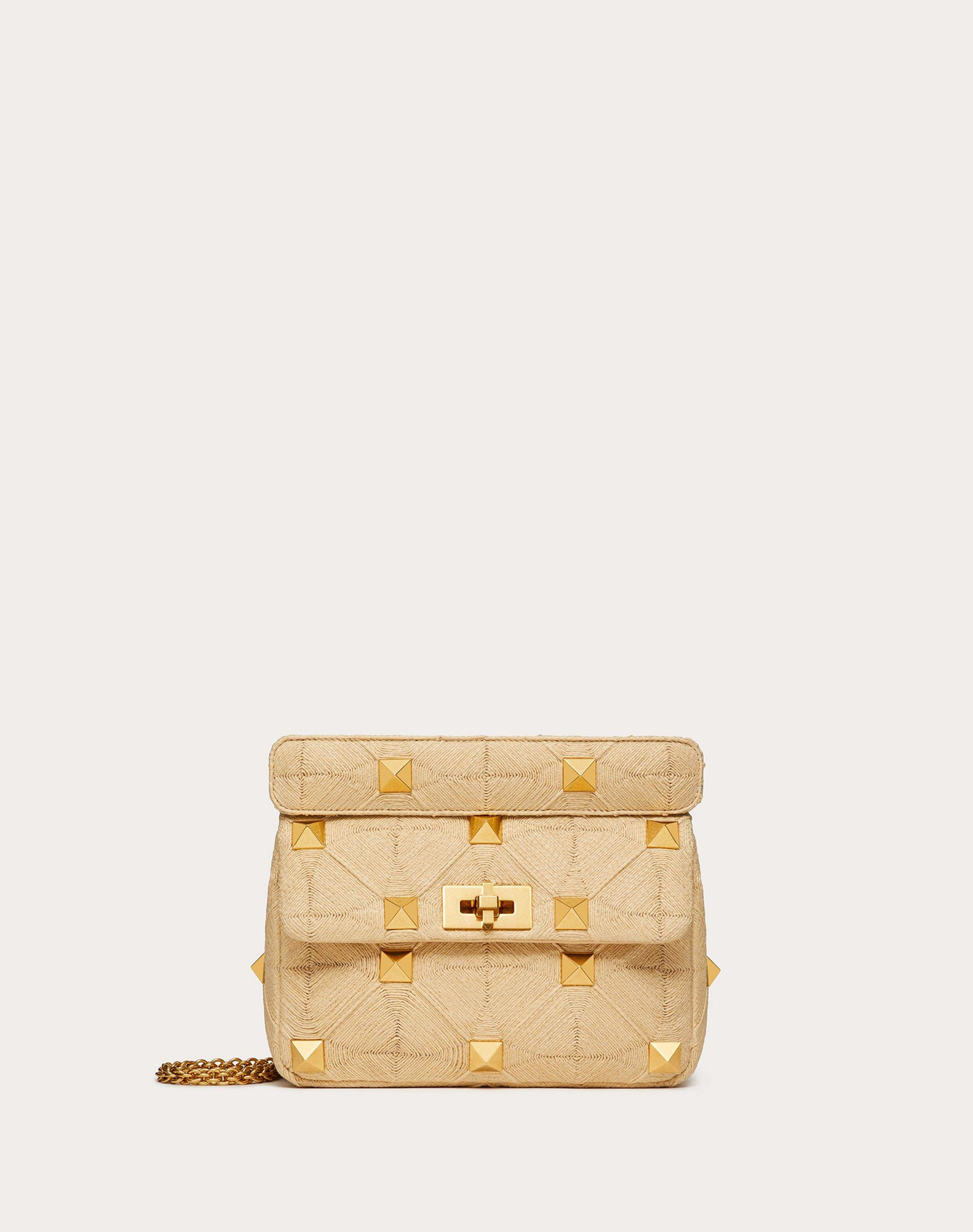 Medium Roman Stud The Shoulder Bag in Synthetic Raffia with Chain