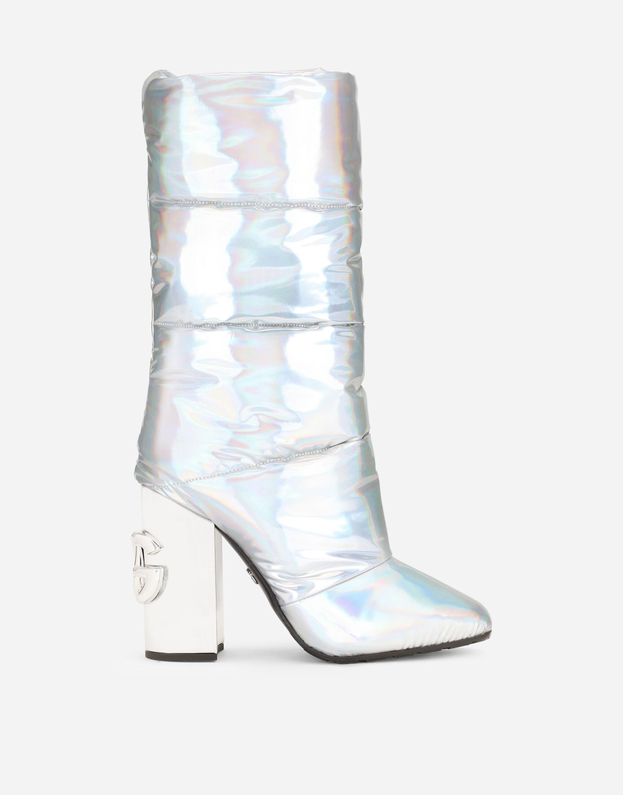 Holographic-effect fabric boots