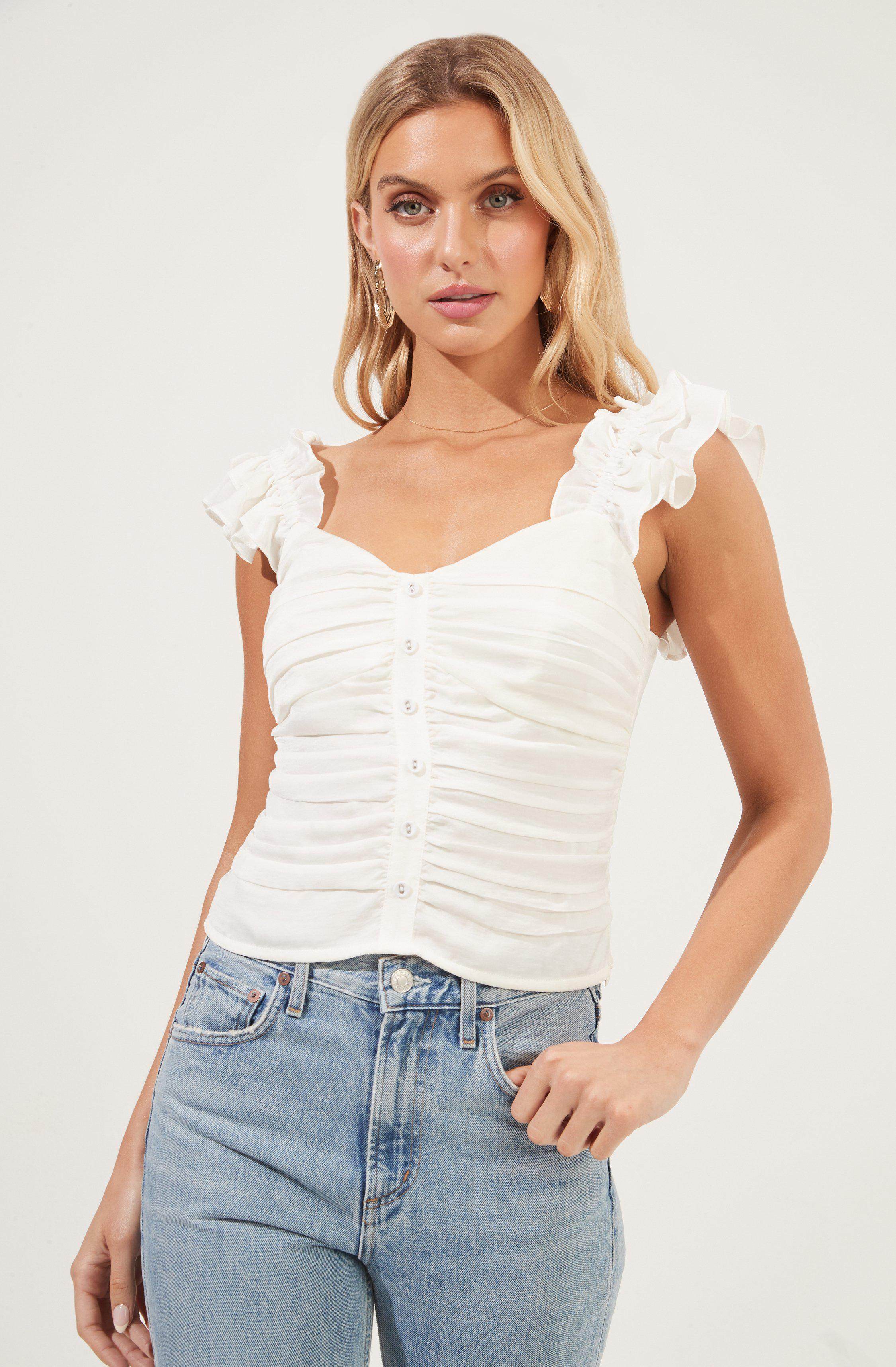 Ruched Button Front Top