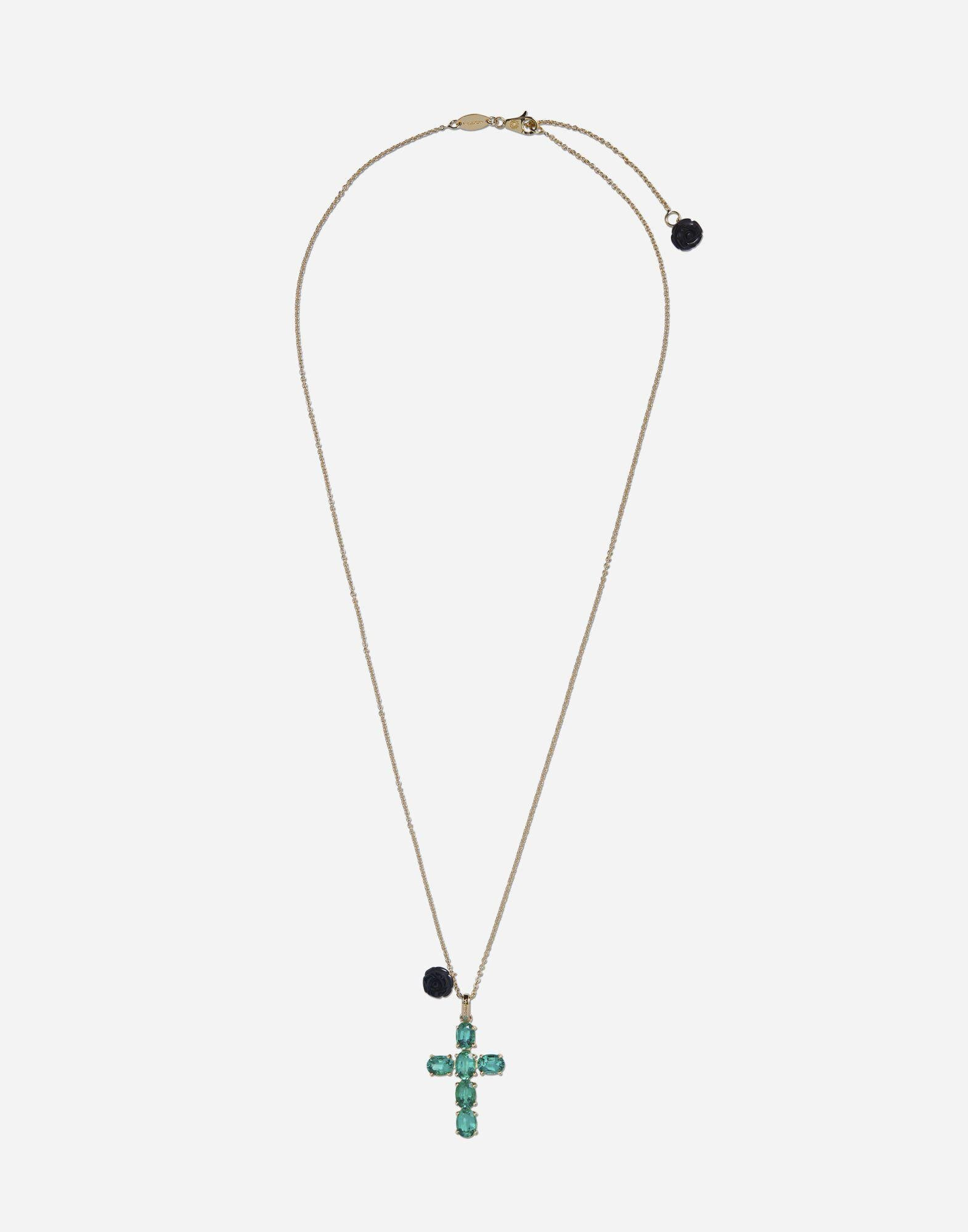 Family cross pendant with emeralds