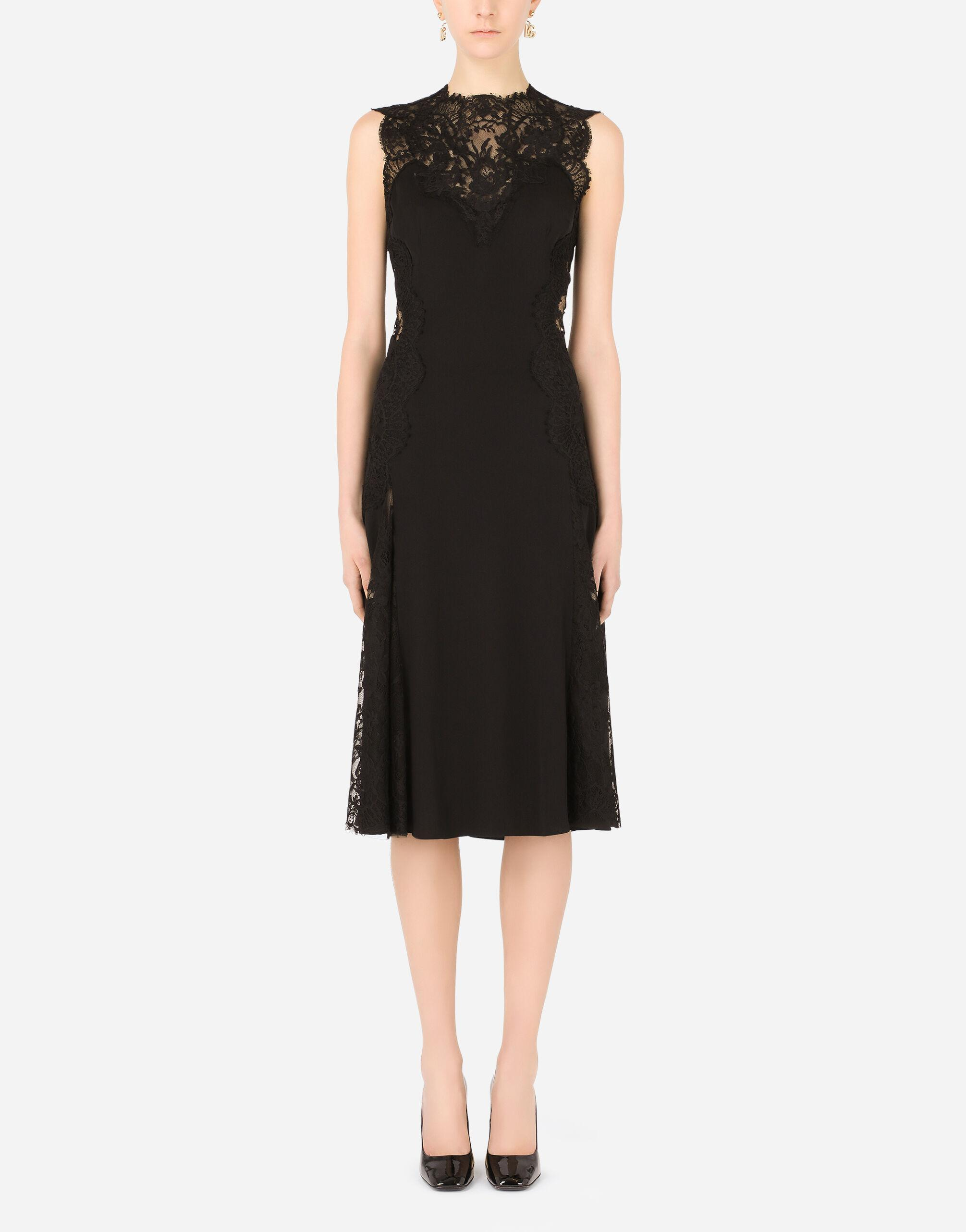 Charmeuse calf-length skirt with Chantilly lace inserts