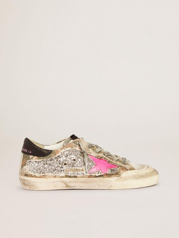 Super-Star sneakers in silver glitter and camouflage canvas