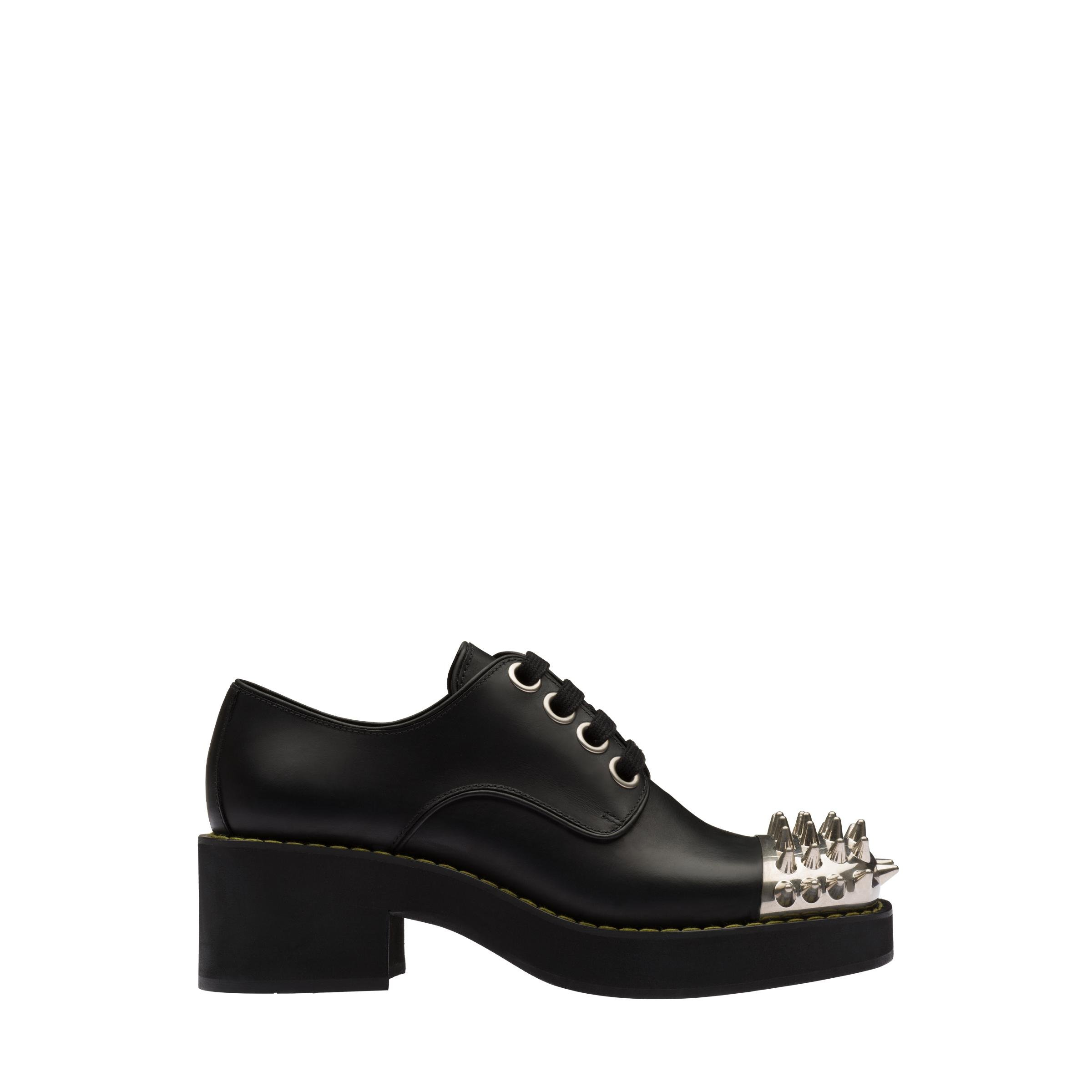 Studded Leather Laced Derby Shoes Women Black 2