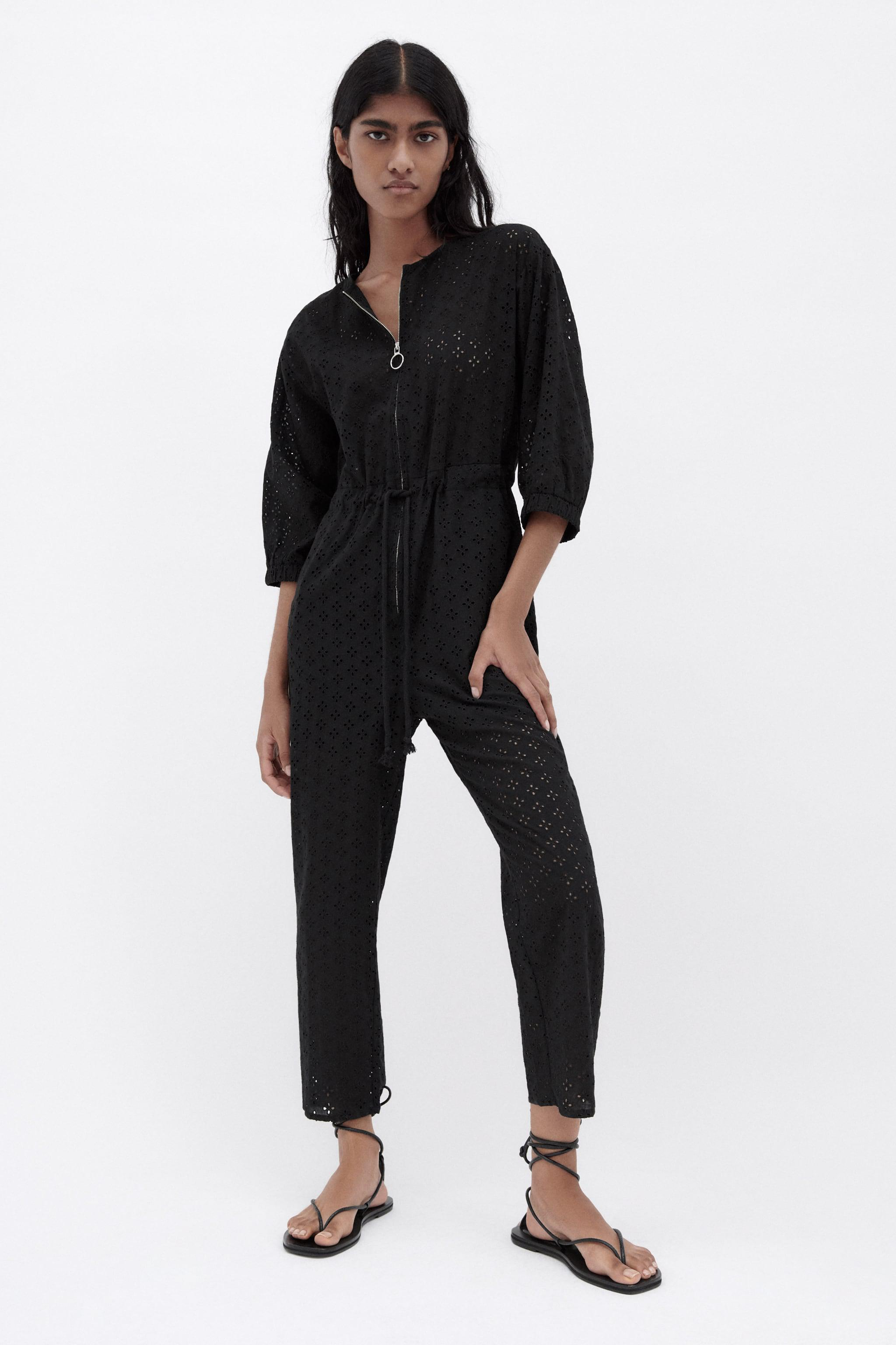 EMBROIDERED EYELET JUMPSUIT