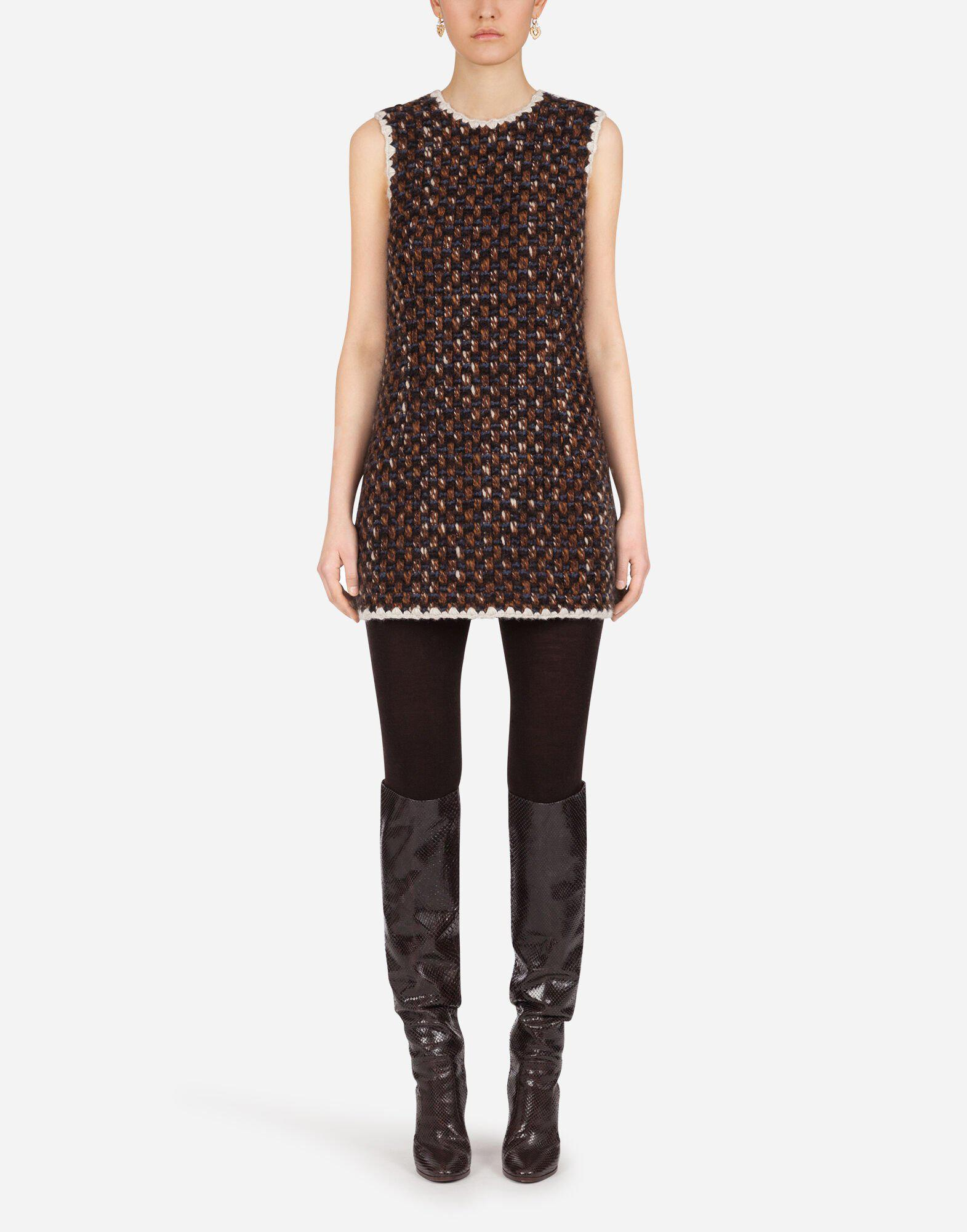 Short tweed dress with contrasting edges