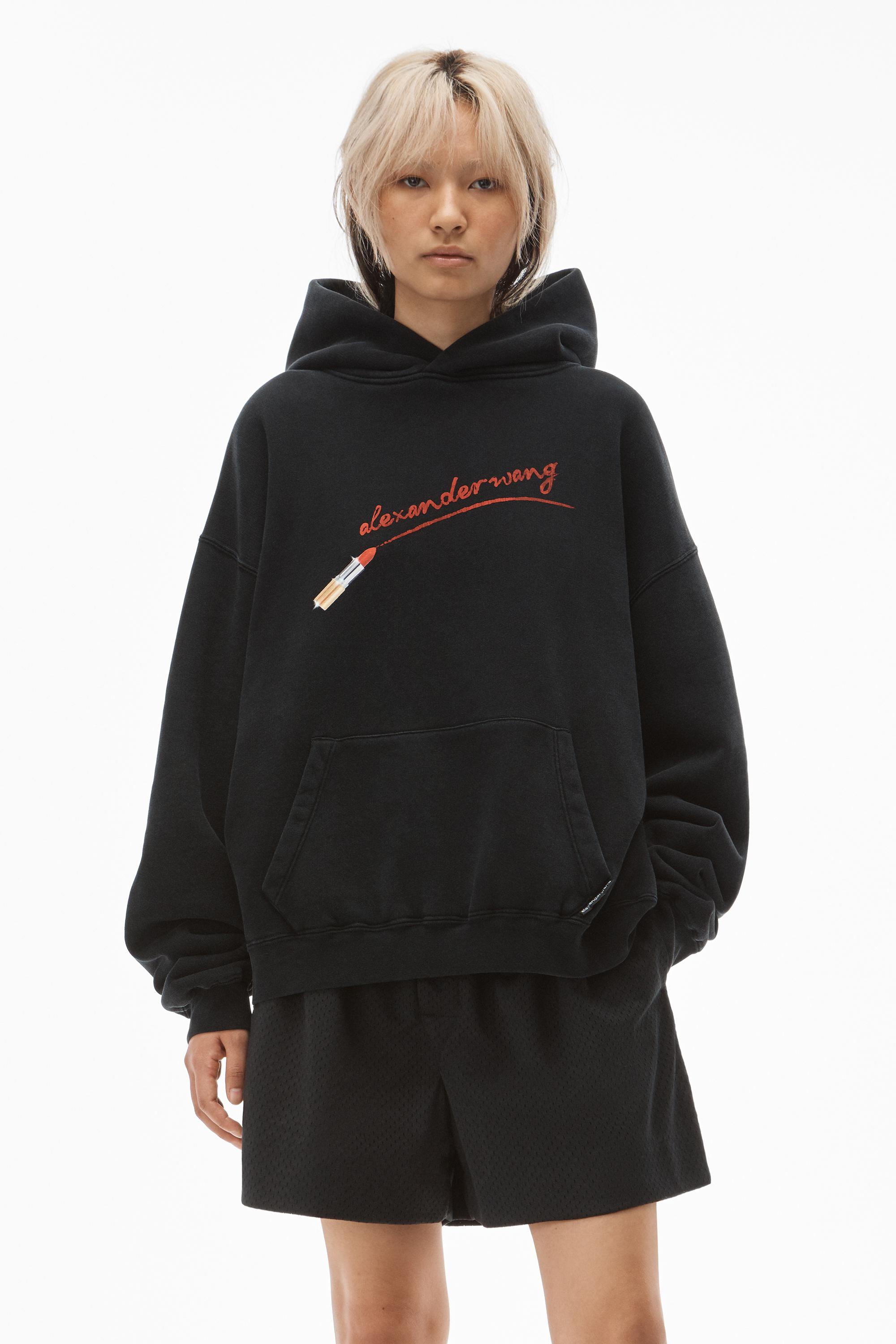 hoodie with lipstick graphic in terry