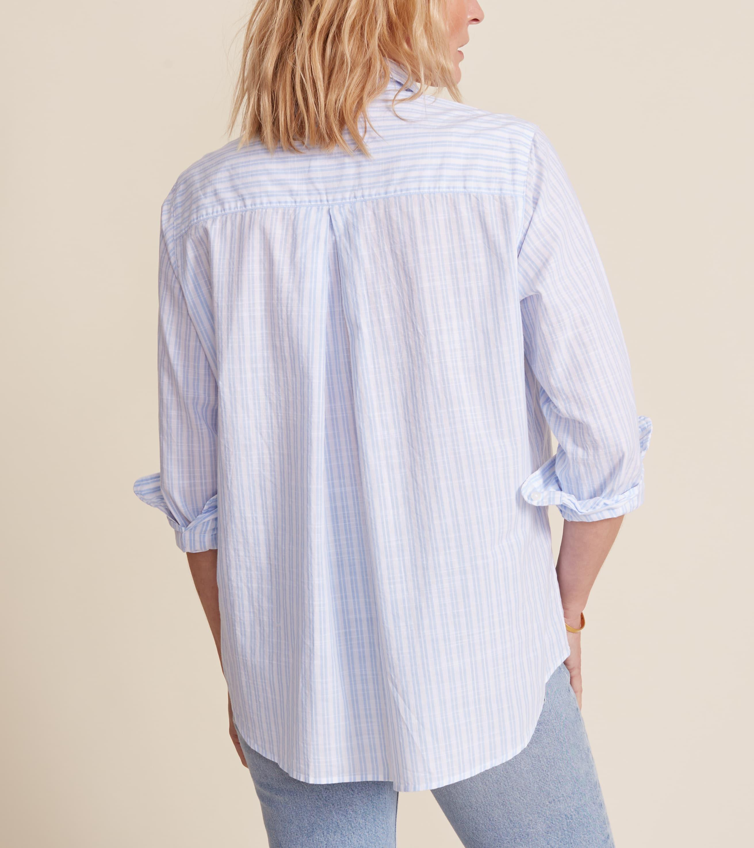 The Hero White with Double Blue Stripe, Washed Cotton Final Sale 1
