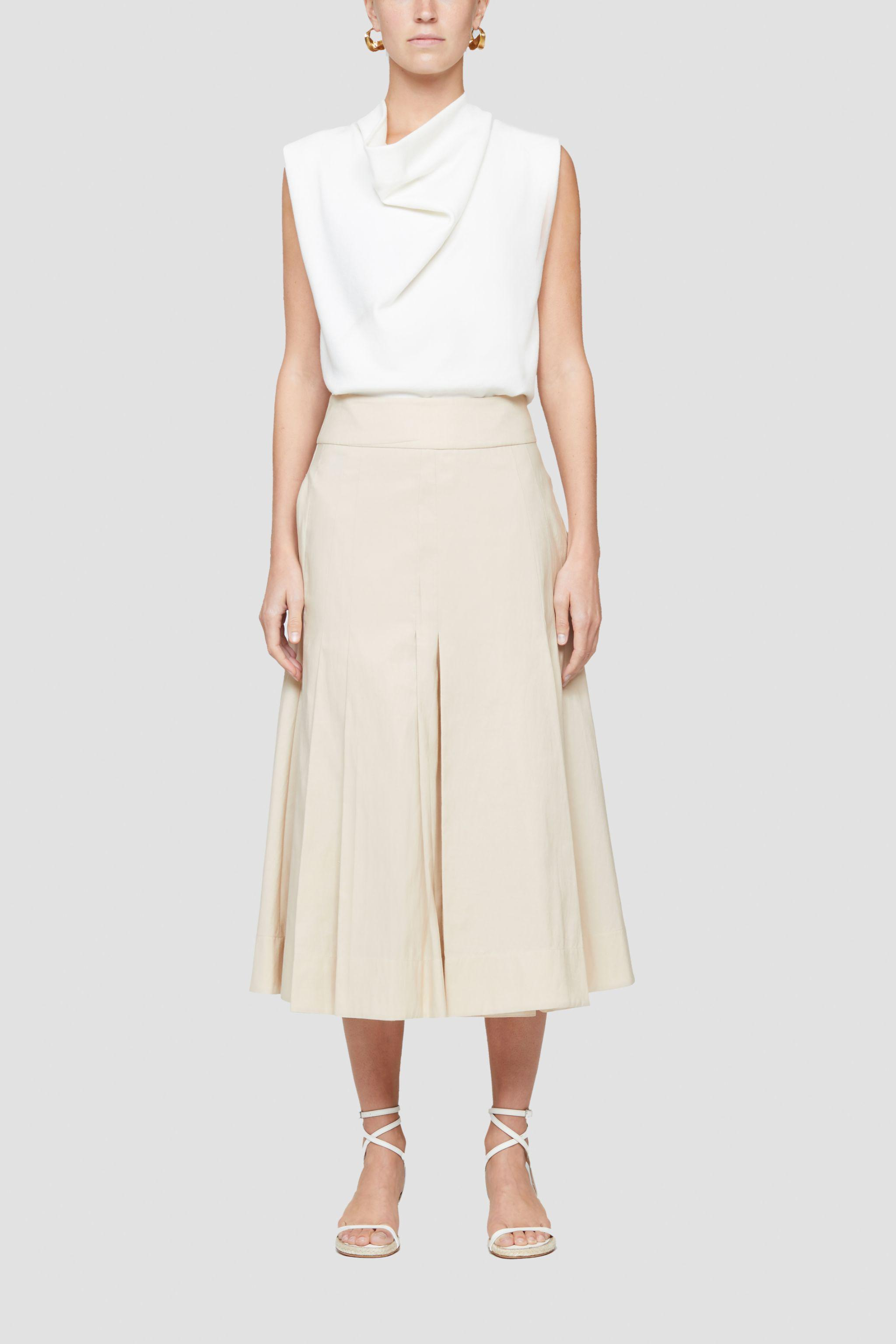 A-Line cotton-blend pleated skirt