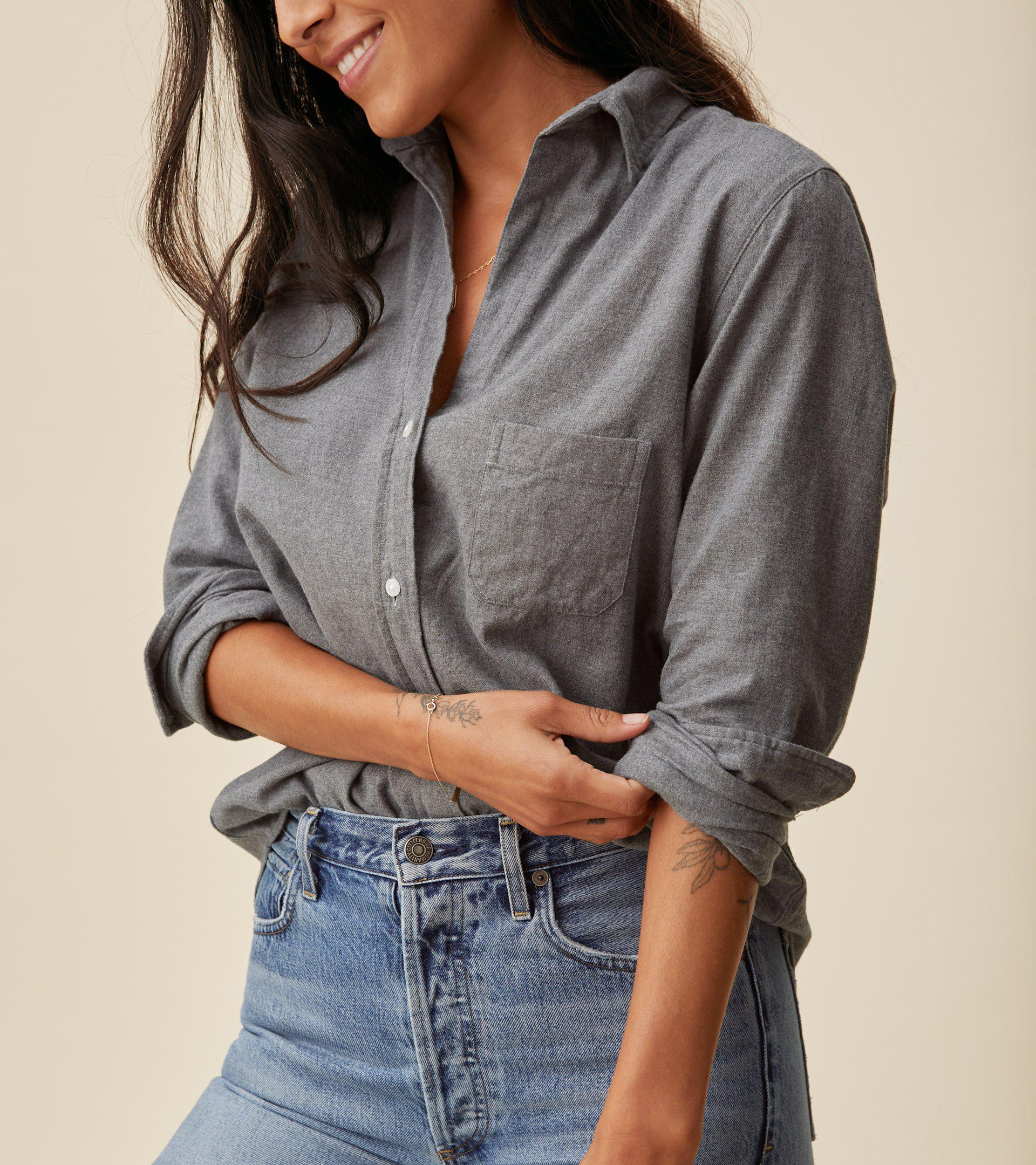 The Hero Button-Up Shirt Gray Melange, Feathered Flannel