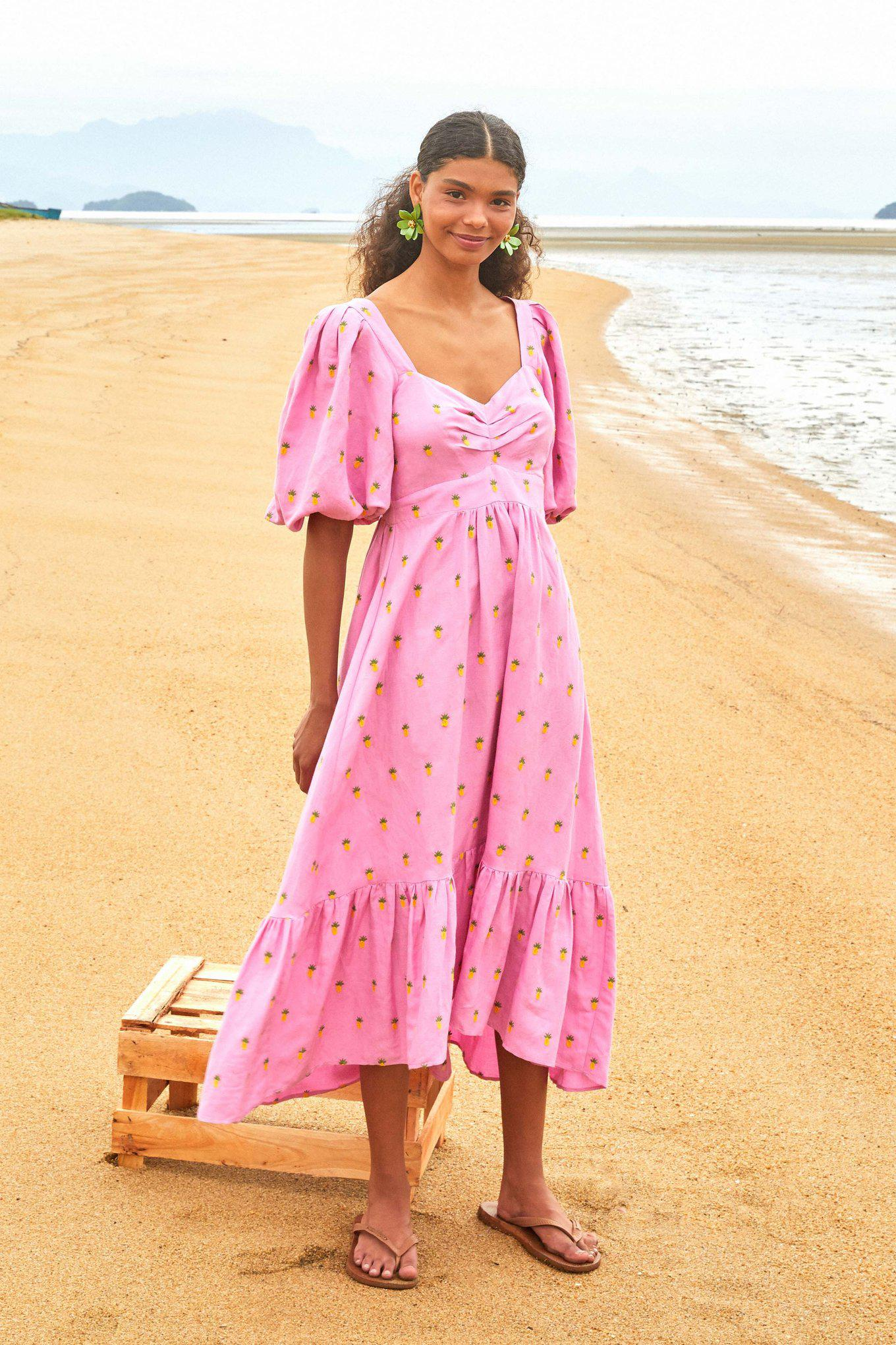 EMBROIDERED PINEAPPLES PINK MIDI DRESS 3