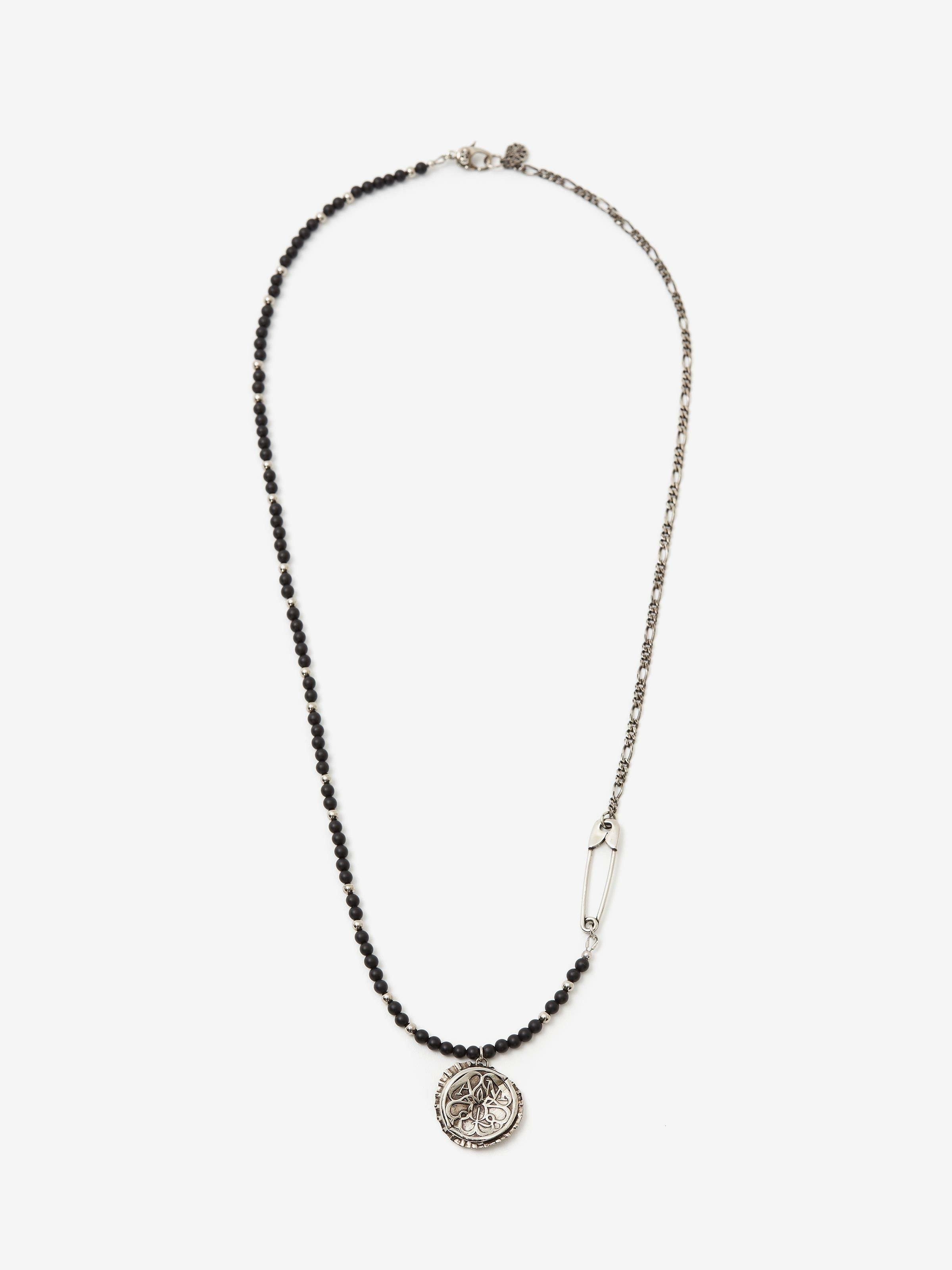 Beads and Seal Bottle Cap Long Necklace