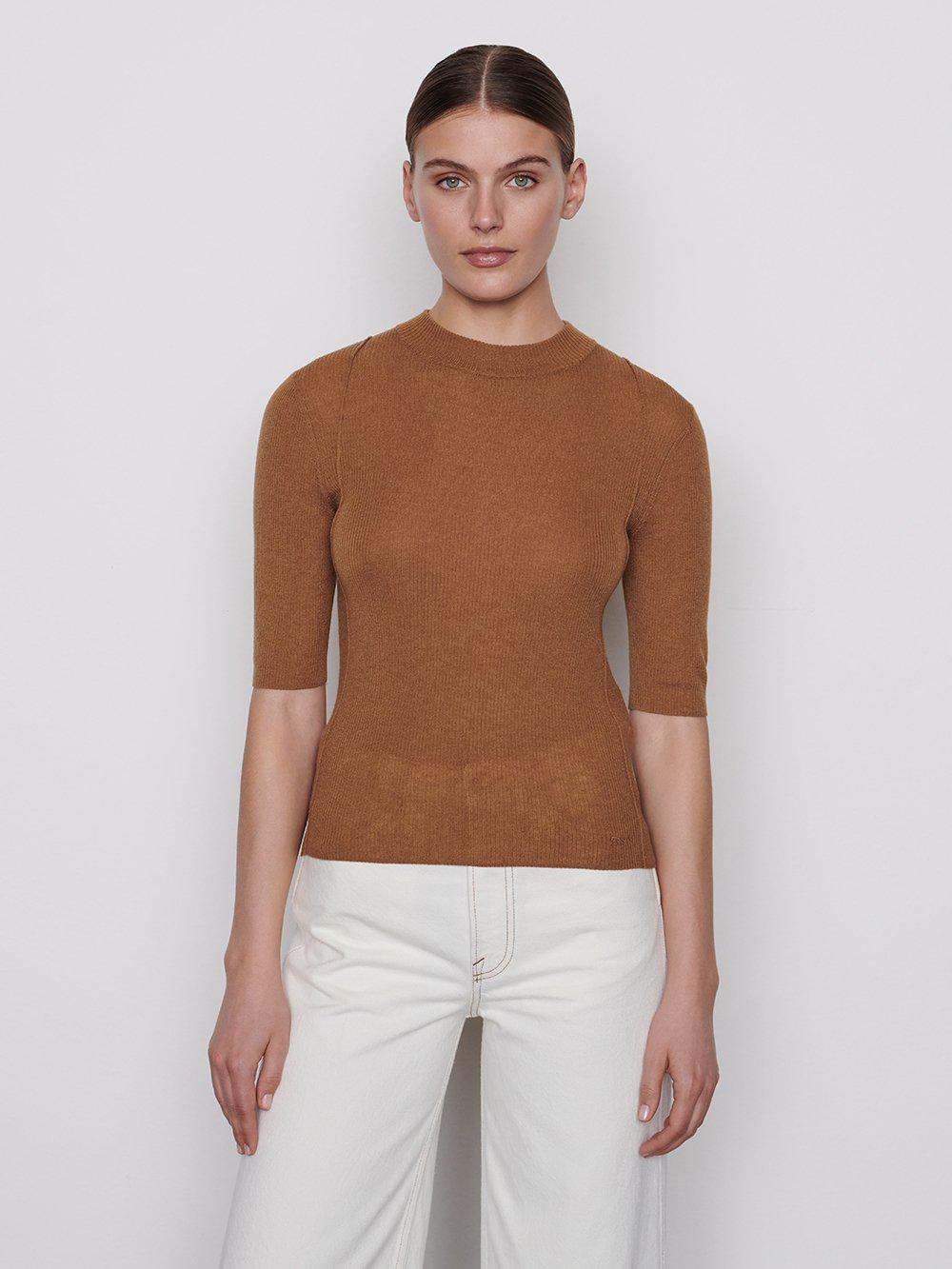 Mock Elbow Sleeve Sweater -- Vicuna