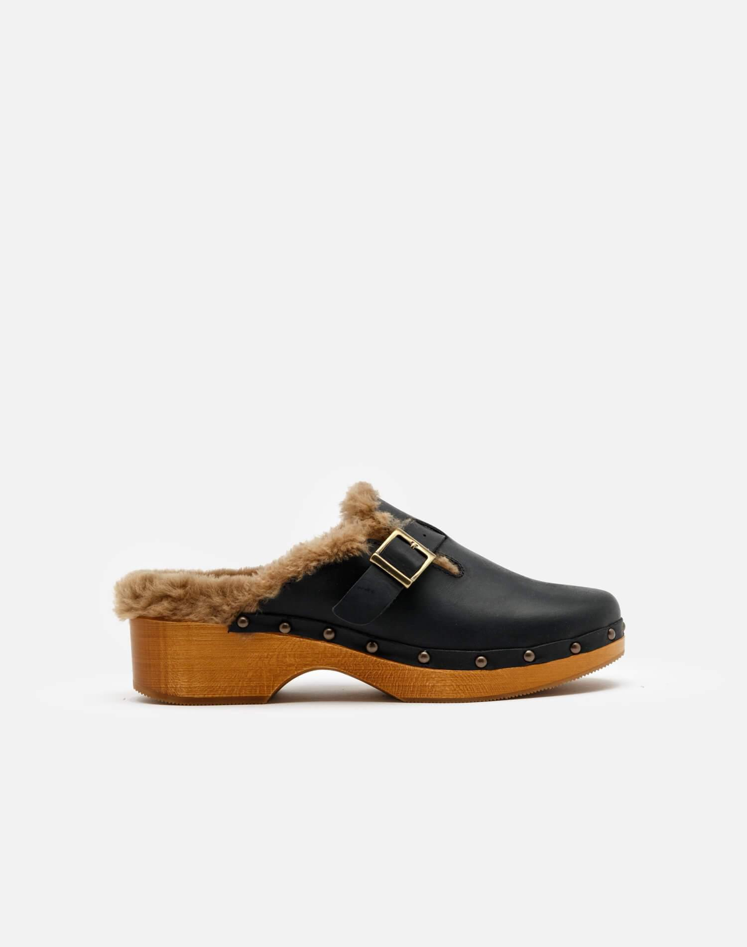 70s Shearling Clog - Black Leather and Shearling