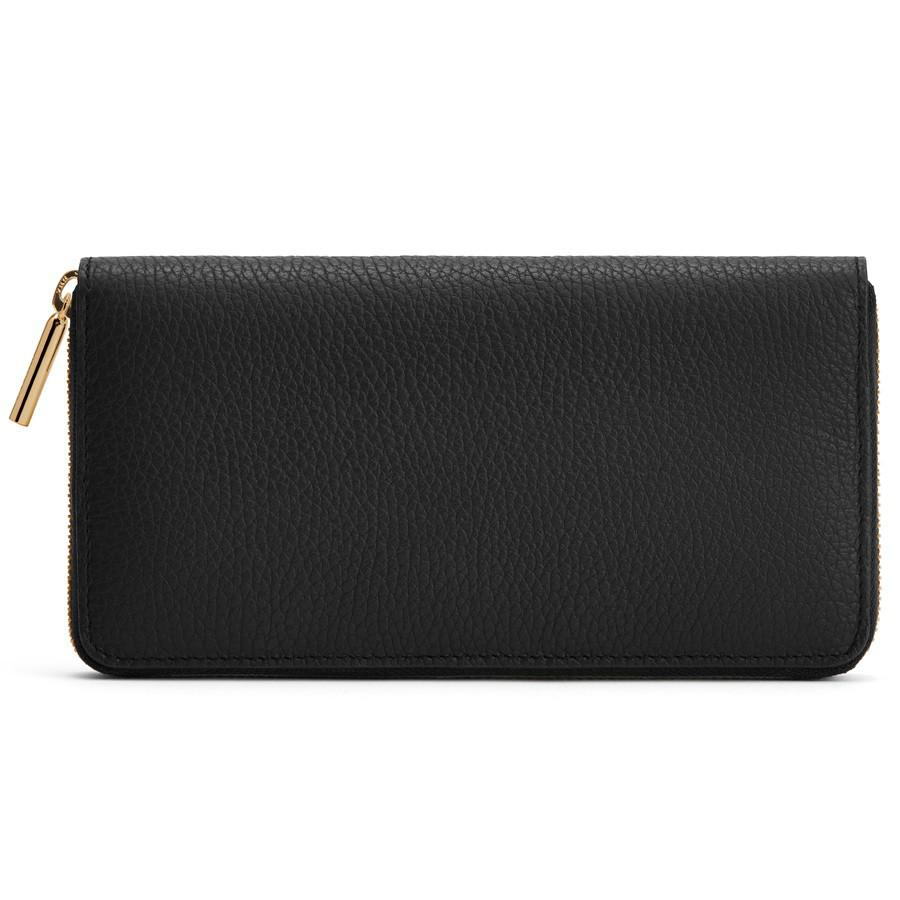 Women's Classic Zip Around Wallet in Black/Red | Pebbled Leather by Cuyana