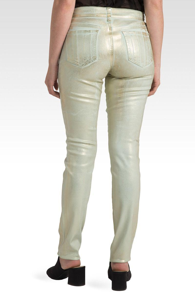 Pastille Tarnished Mint Gold Foiled Twill Skinny Jeans