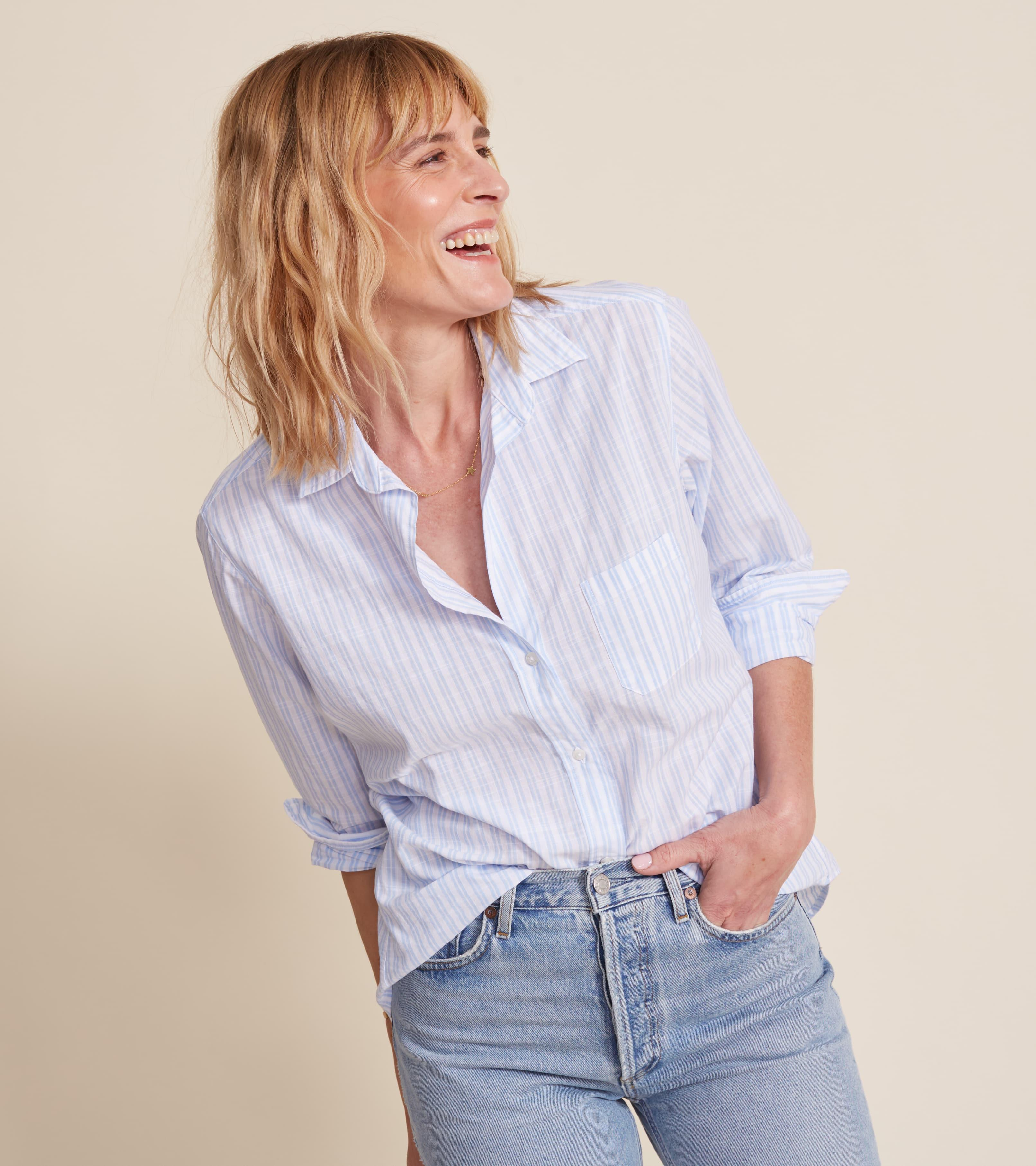 The Hero White with Double Blue Stripe, Washed Cotton Sale