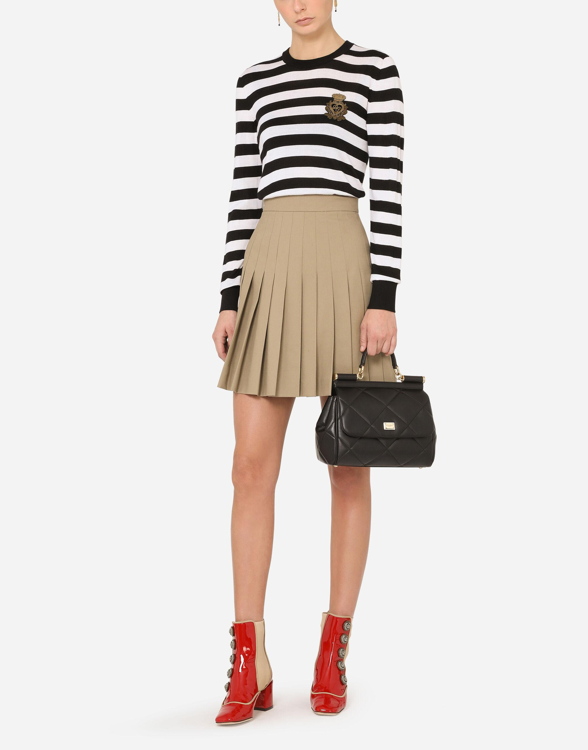 Striped crew-neck sweater in silk and cashmere with logo detail 4