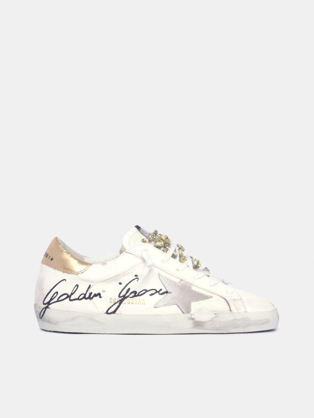 LAB limited edition Super-Star sneakers with crystals and black Golden Goose signature with glitter
