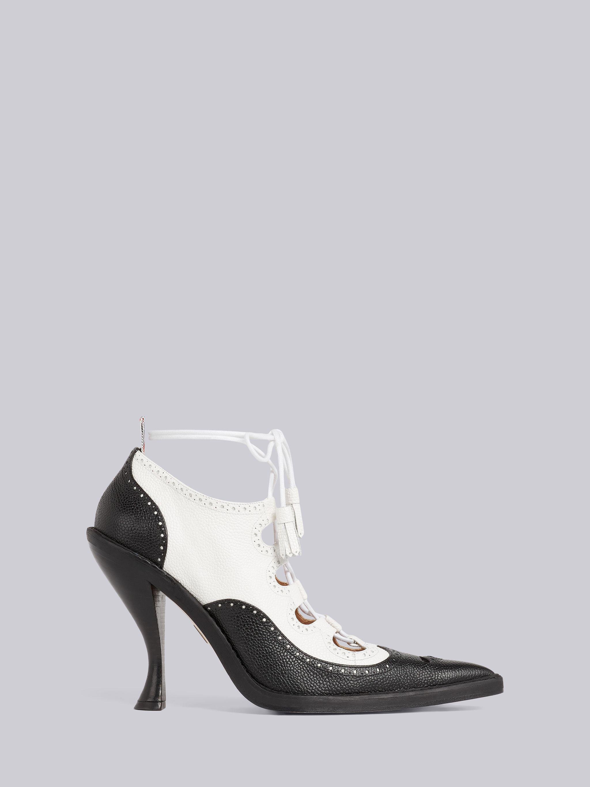 Black and White Pebbled Calfskin Ghillie Brogue Curved High Heel