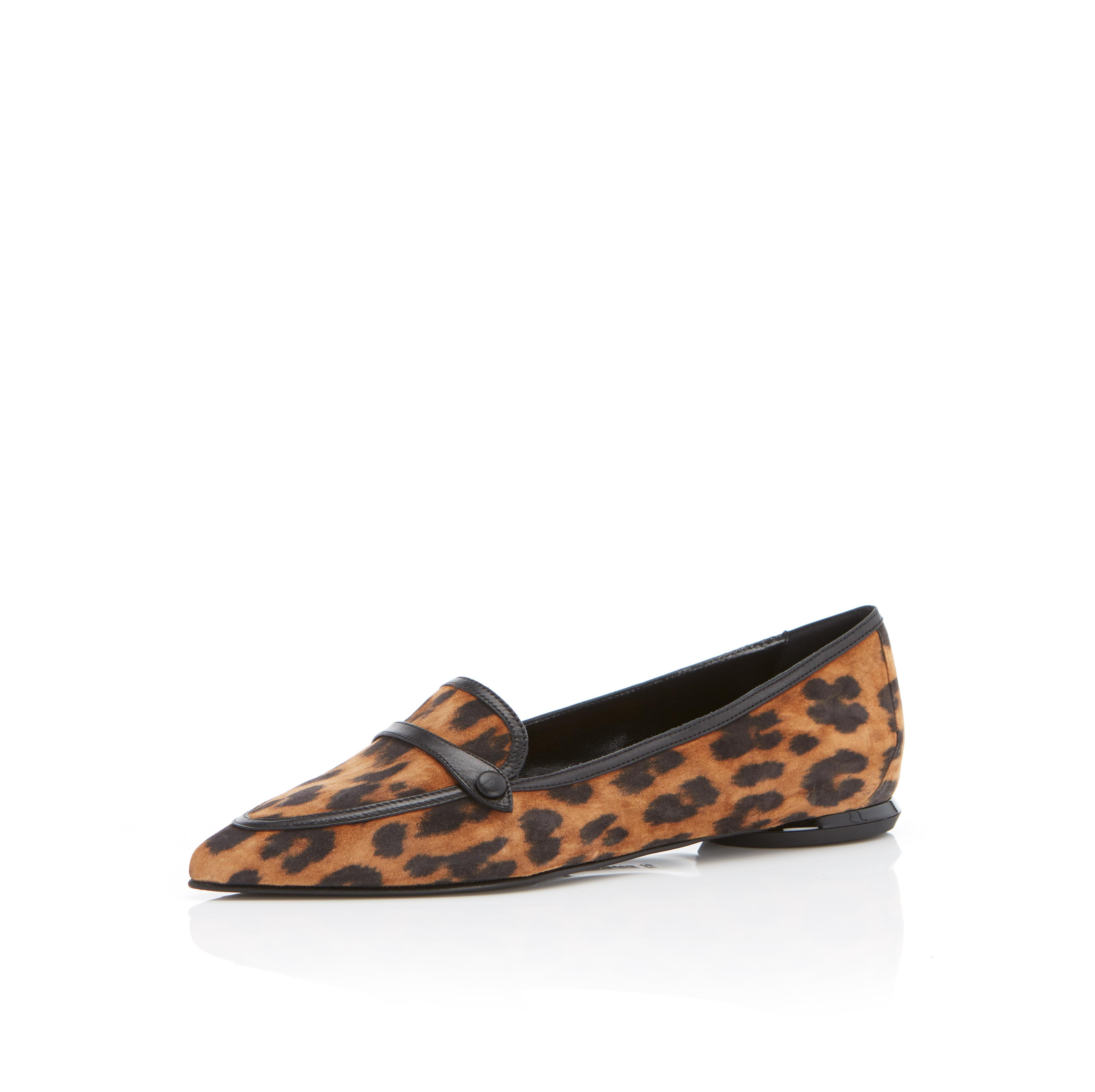 Natalie | Leopard Print Suede Pointy Toe Flat Loafer 1