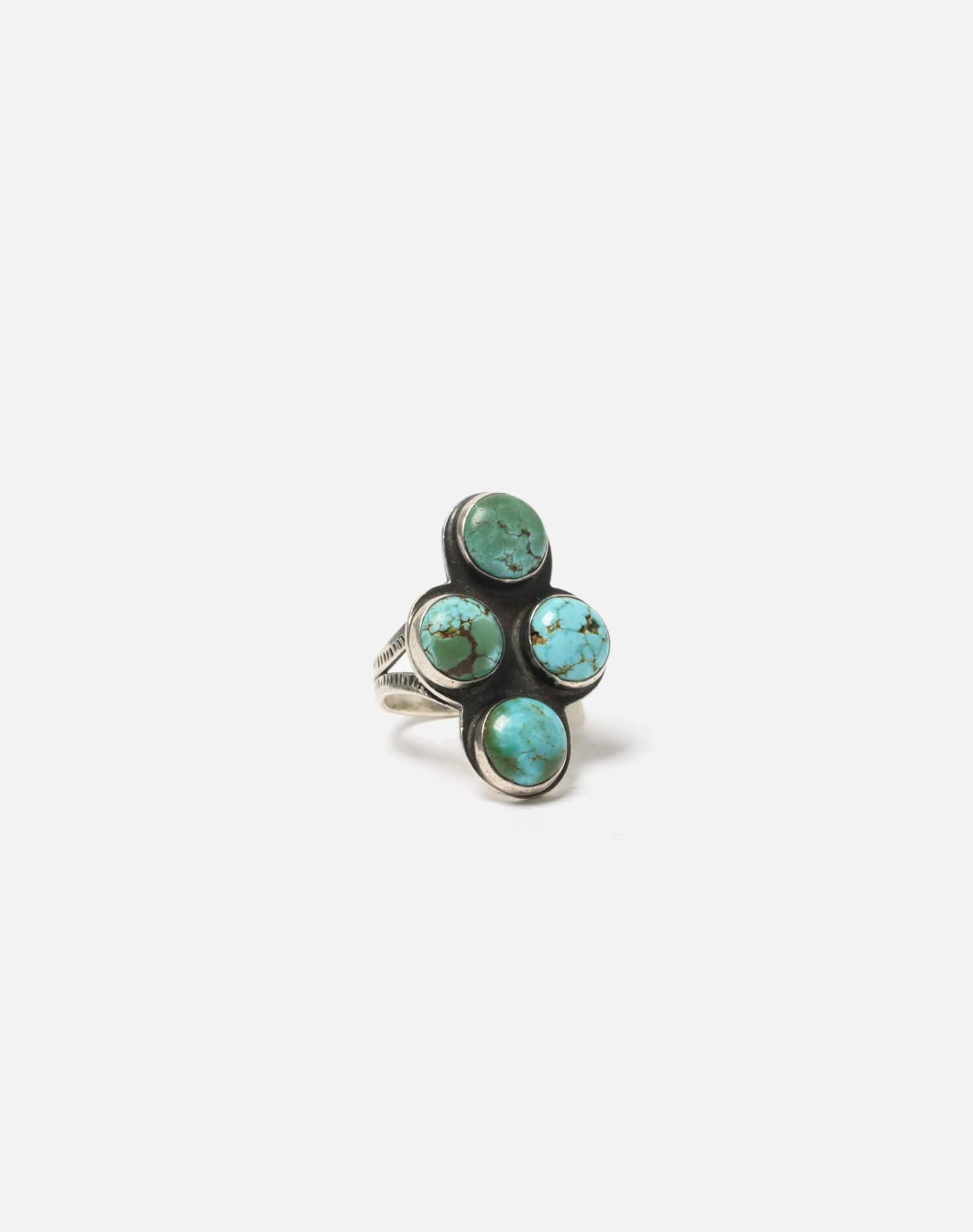 1930s Navajo Spilt Shank Sterling And Turquoise Stone Ring - #94 0