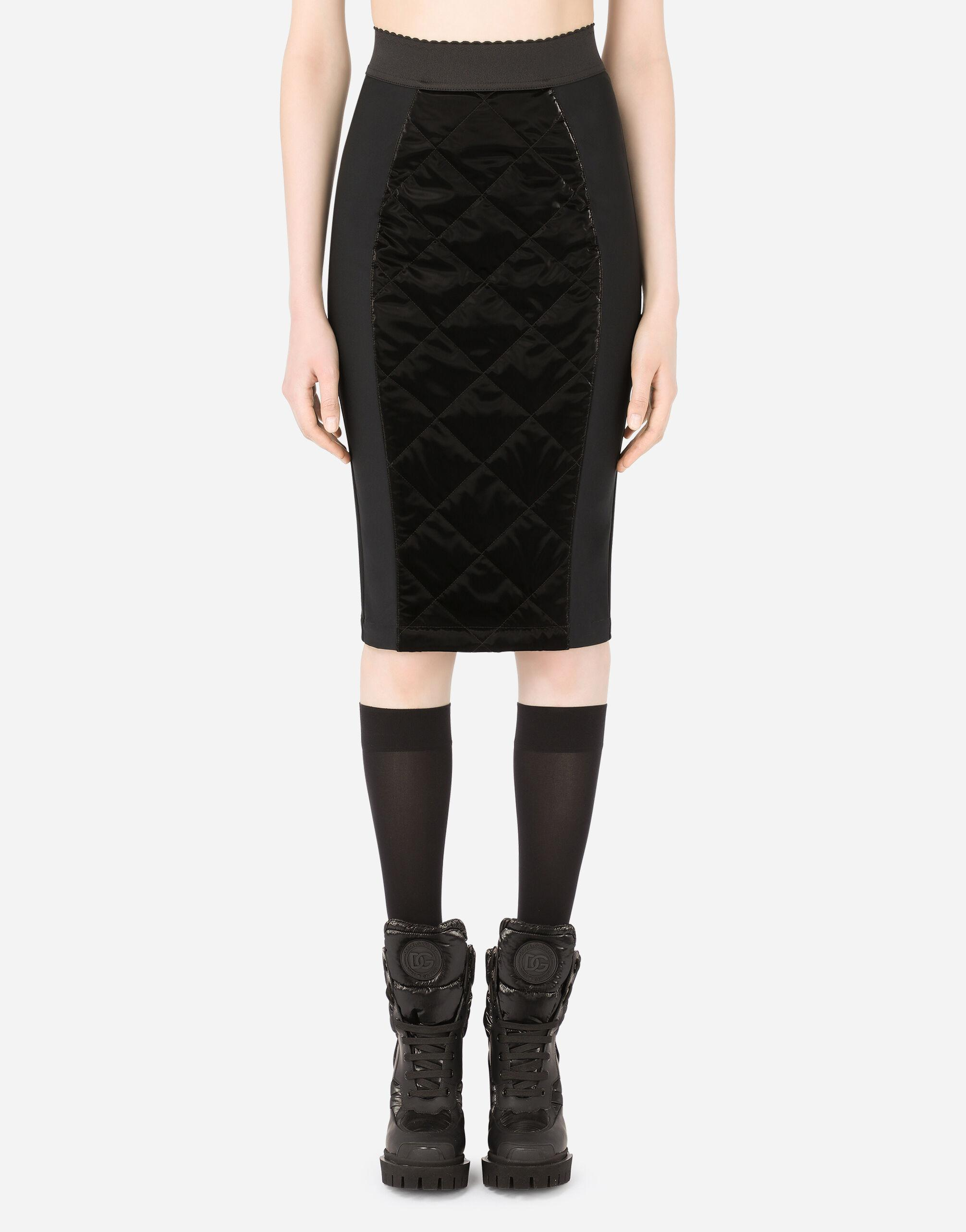 Coated quilted fabric midi skirt