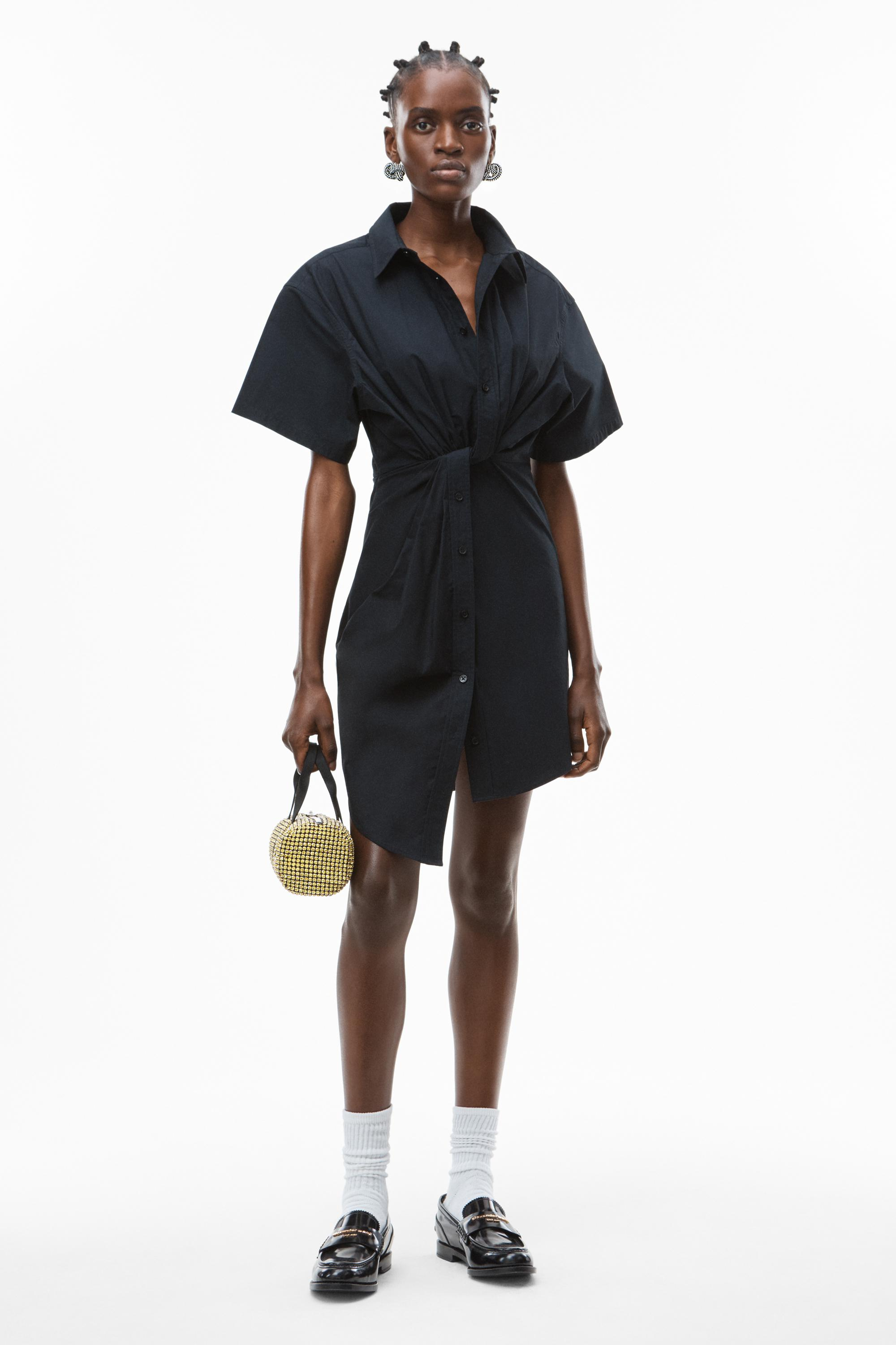 twisted placket dress in compact cotton