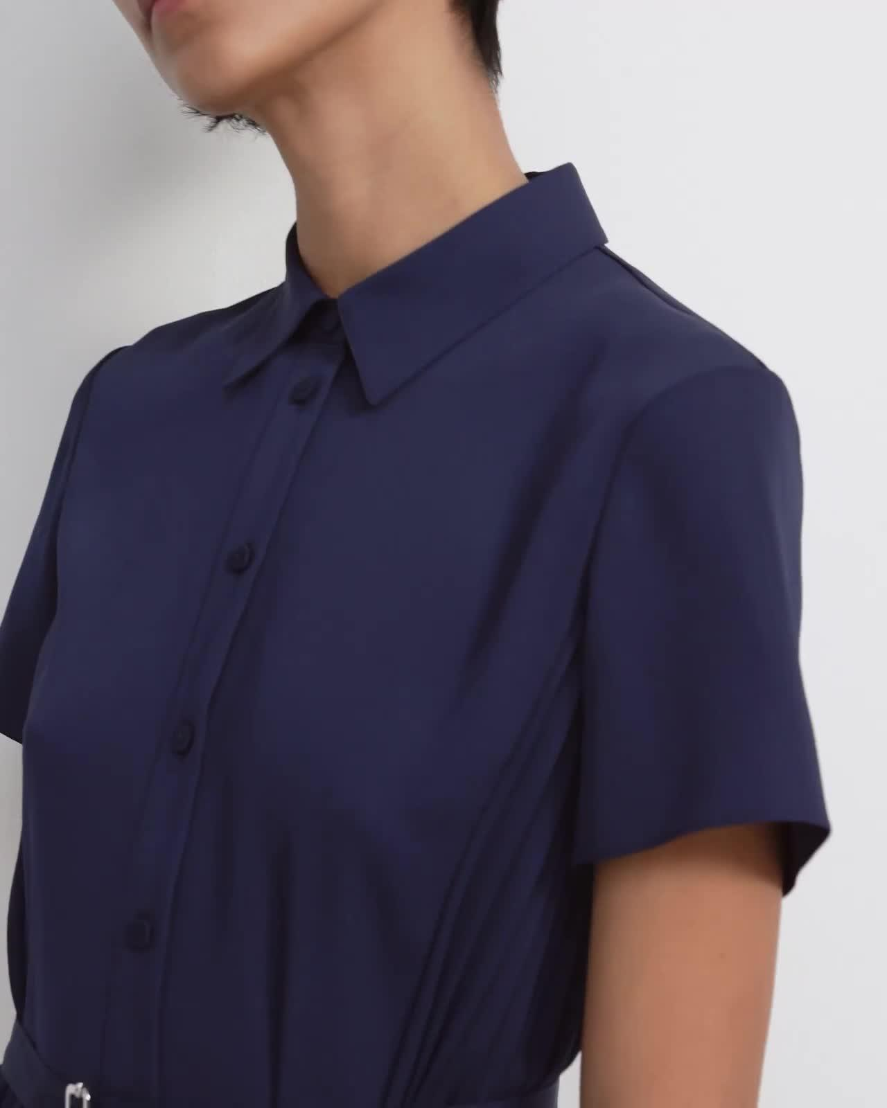 Pleated Short-Sleeve Shirtdress in Satin Crepe 4