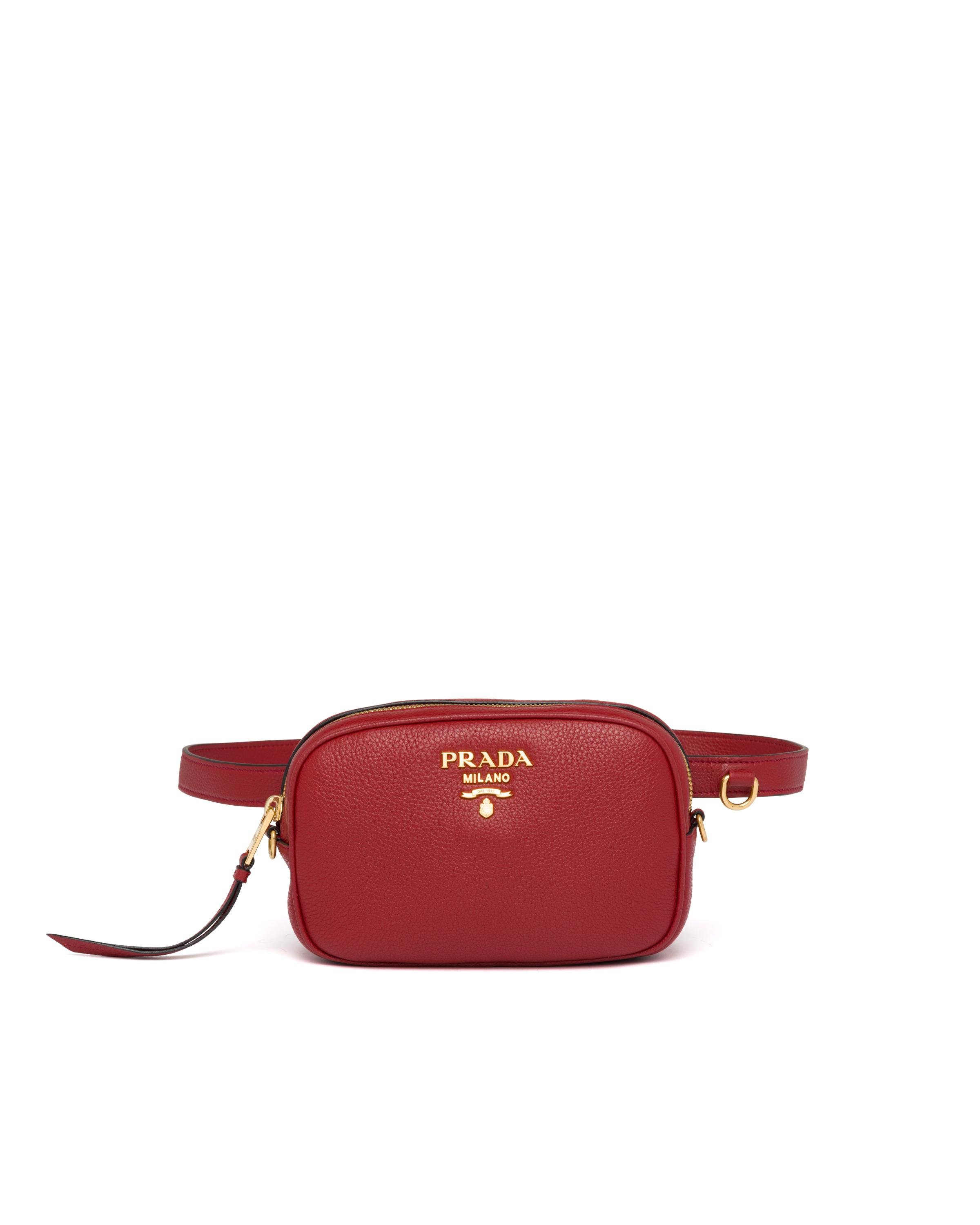 Leather Belt Bag Women Ruby Red 7