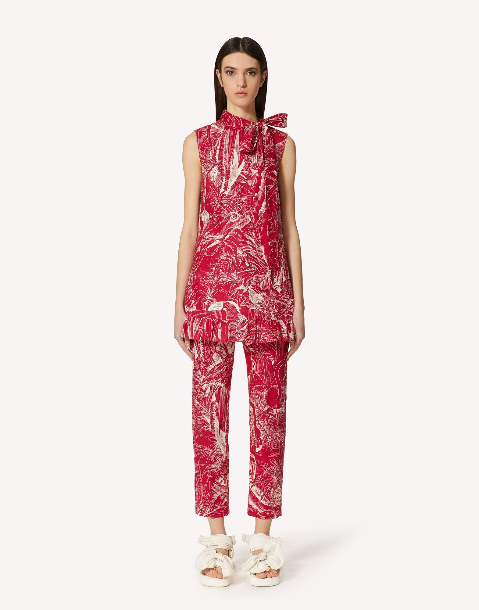 COTTON PANTS WITH JUNGLE TOILE PRINT