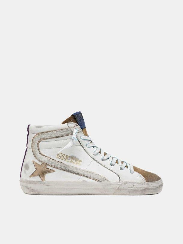 Slide sneakers with metallic star and pony skin details