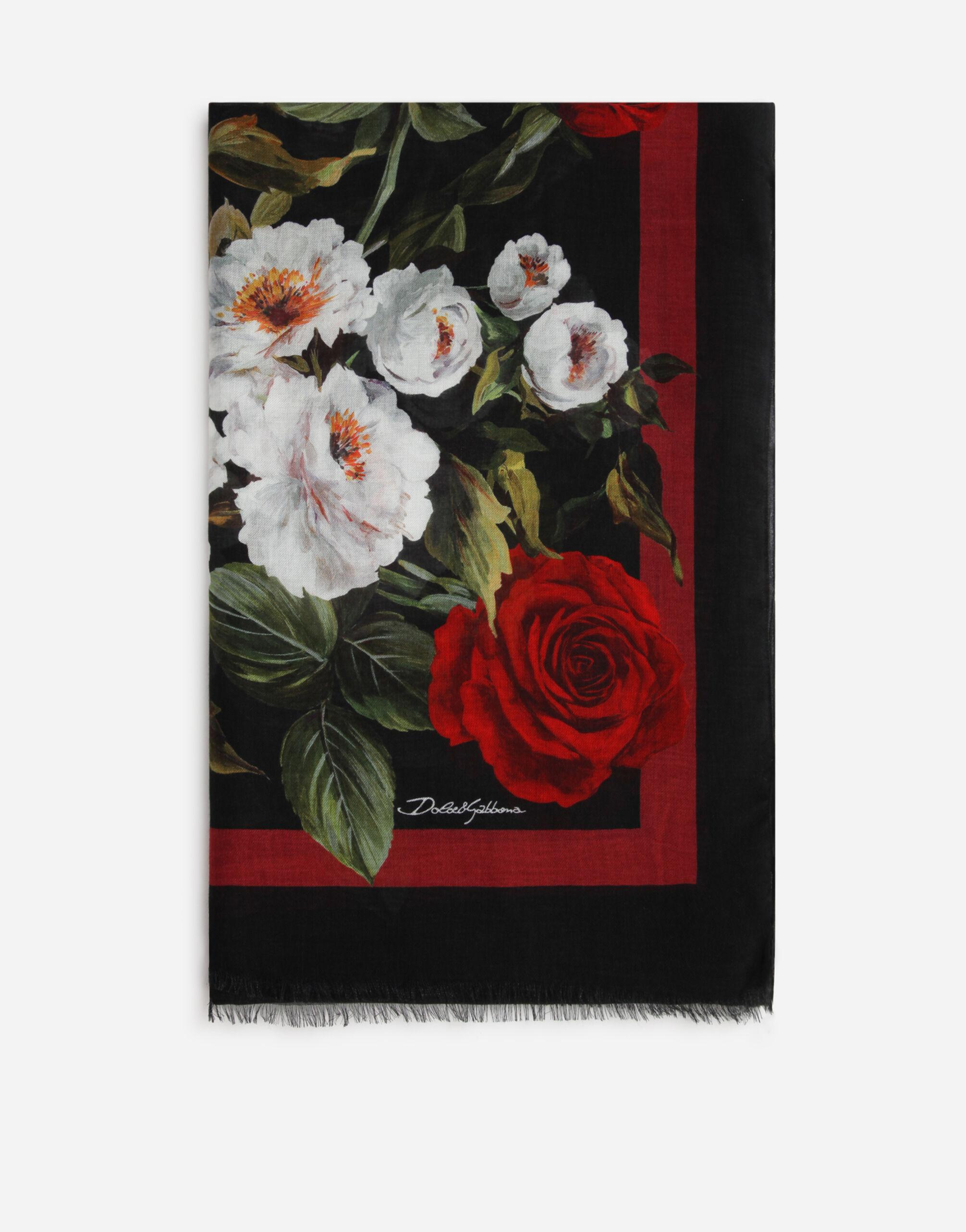 Rose-print cashmere and modal scarf (135 x 200)