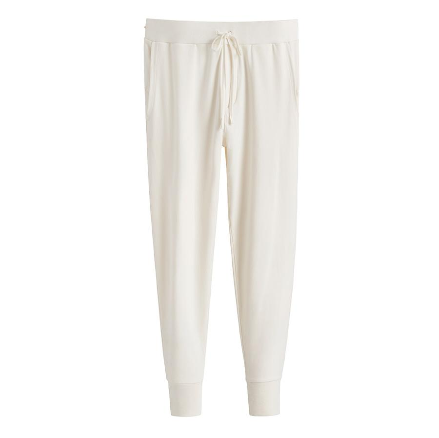Women's French Terry Tapered Lounge Pant in Ecru | Size:
