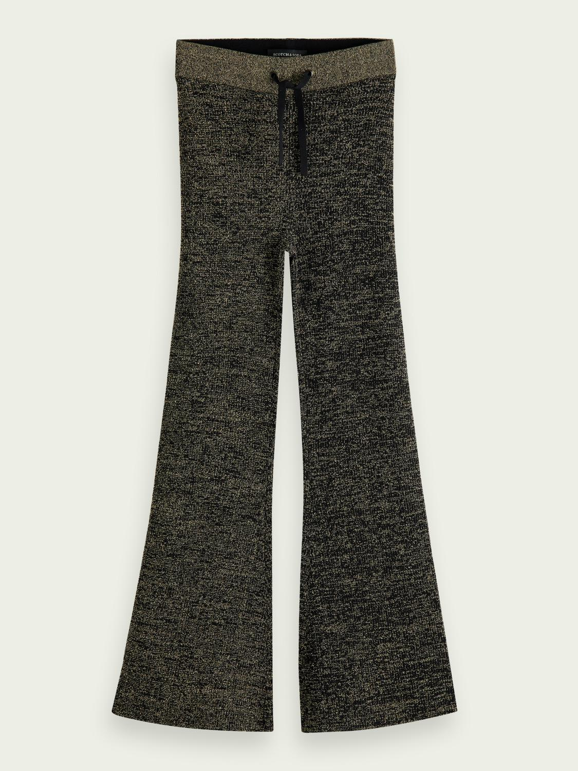 Lustrous wide-legged high-rise trousers