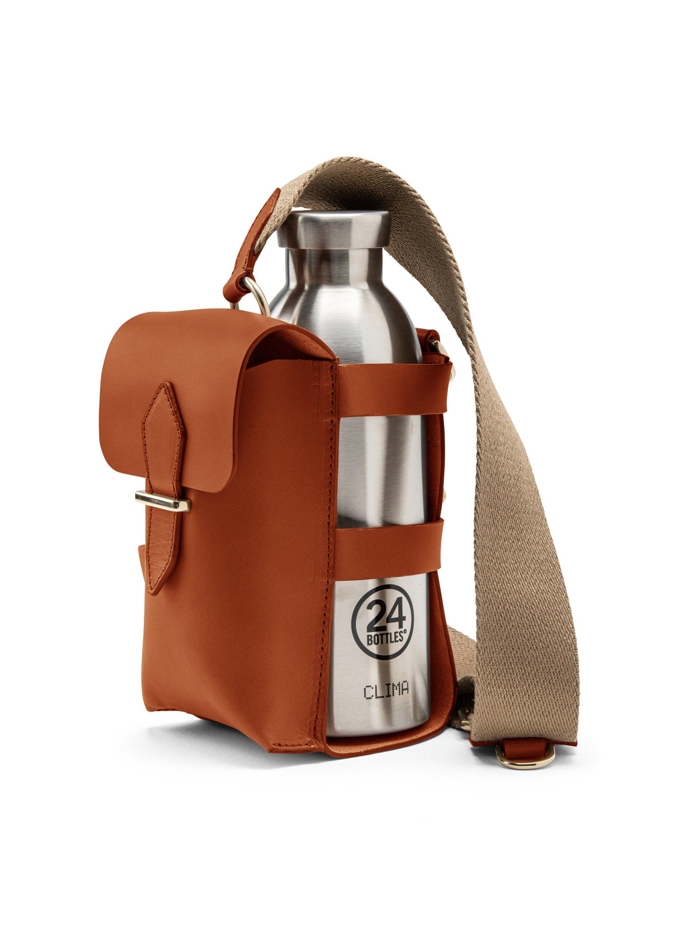 Bottle Bag with Pocket and Bottle - Tan Leather