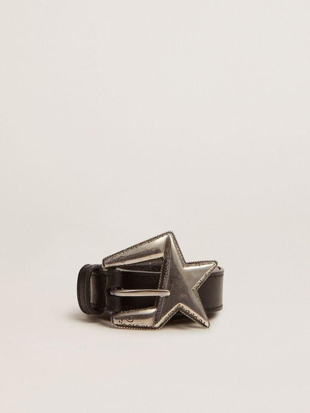 Black leather Star belt with sculptured buckle