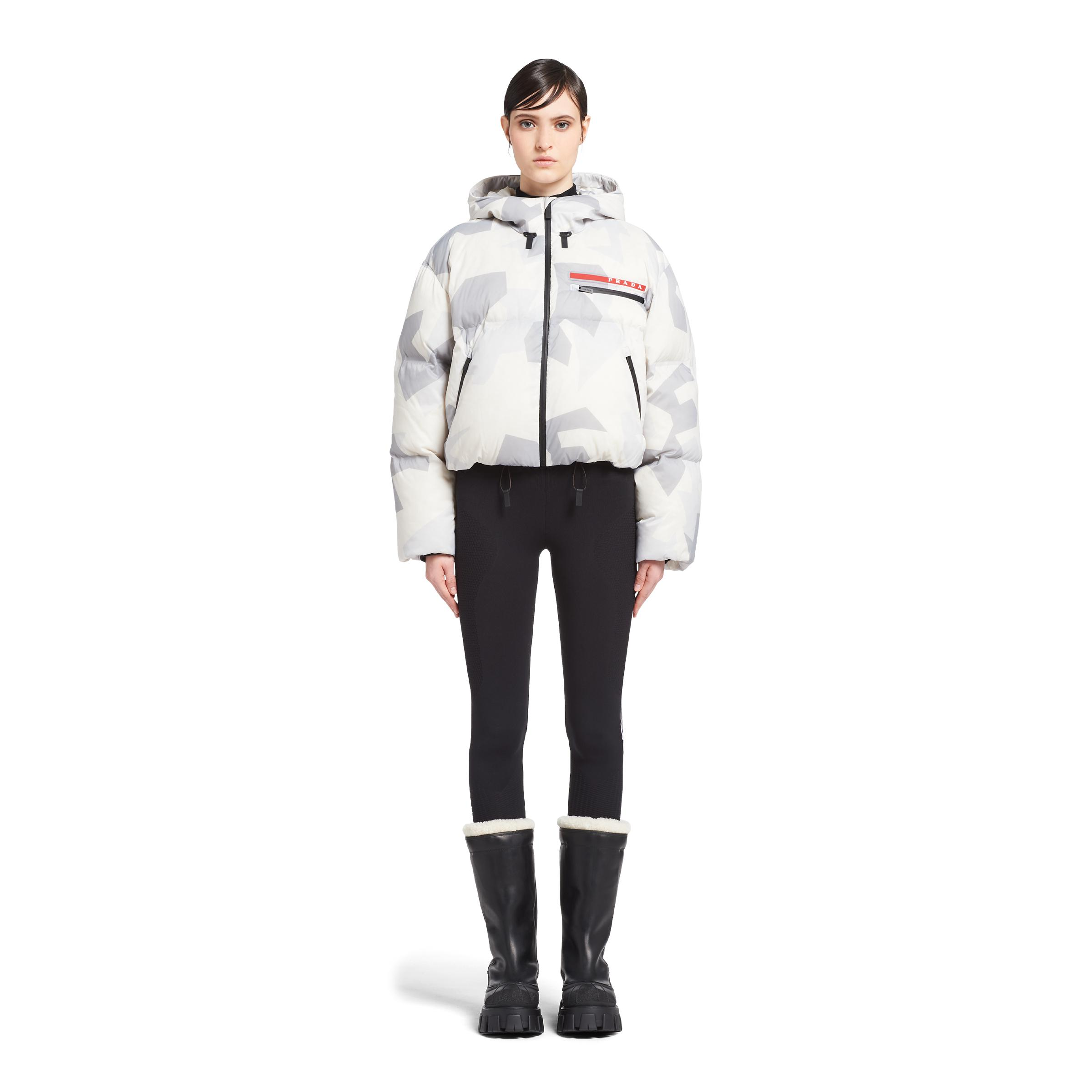 Cropped Camouflage Print Nylon Puffer Jacket Women Marble Gray 1