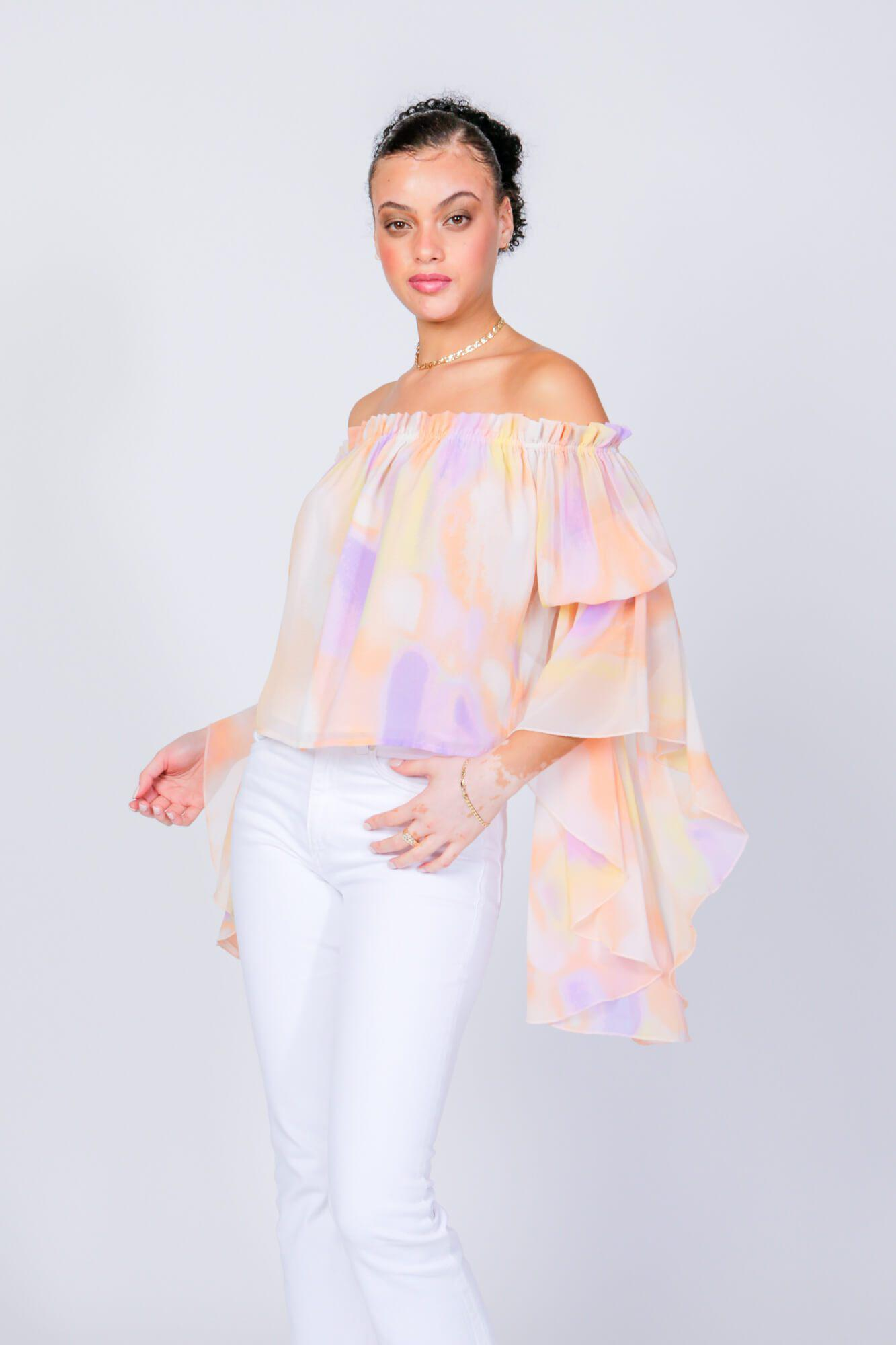 Cotton Candy Brittney Off The Shoulder Bell Sleeve Top