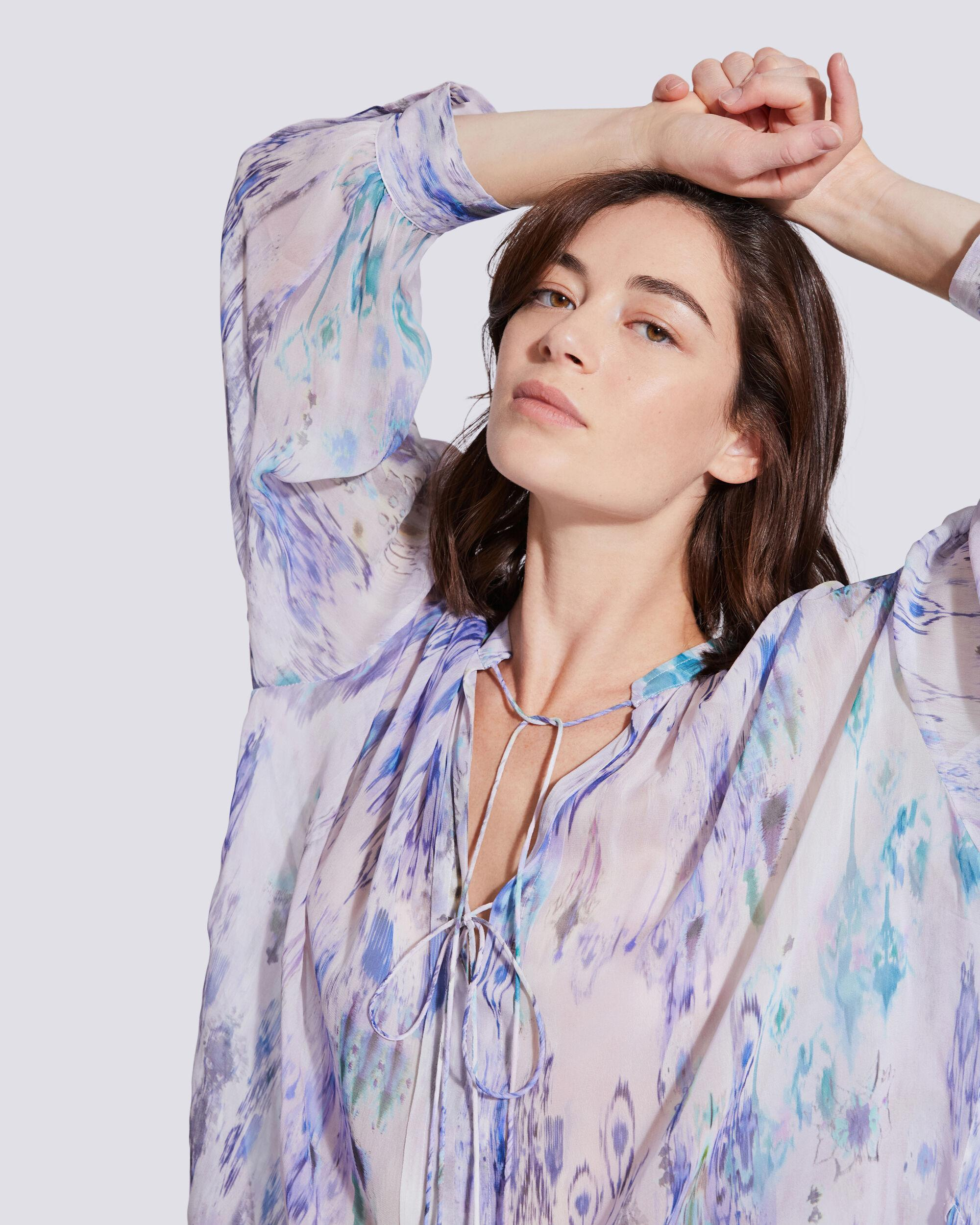 LADE TIE FRONT SHEER PRINTED BLOUSE 4