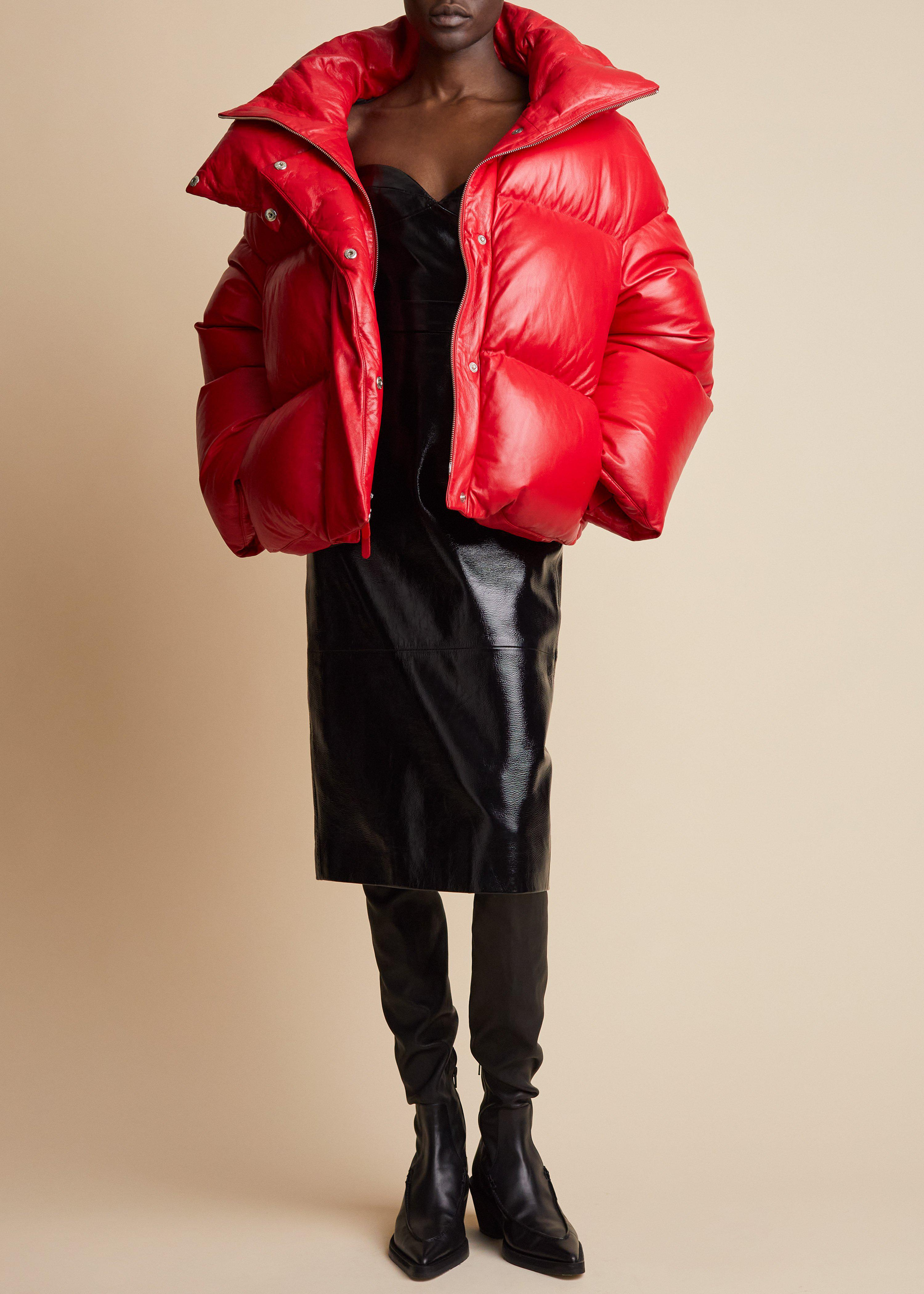 The Raphael Puffer Jacket in Red Leather