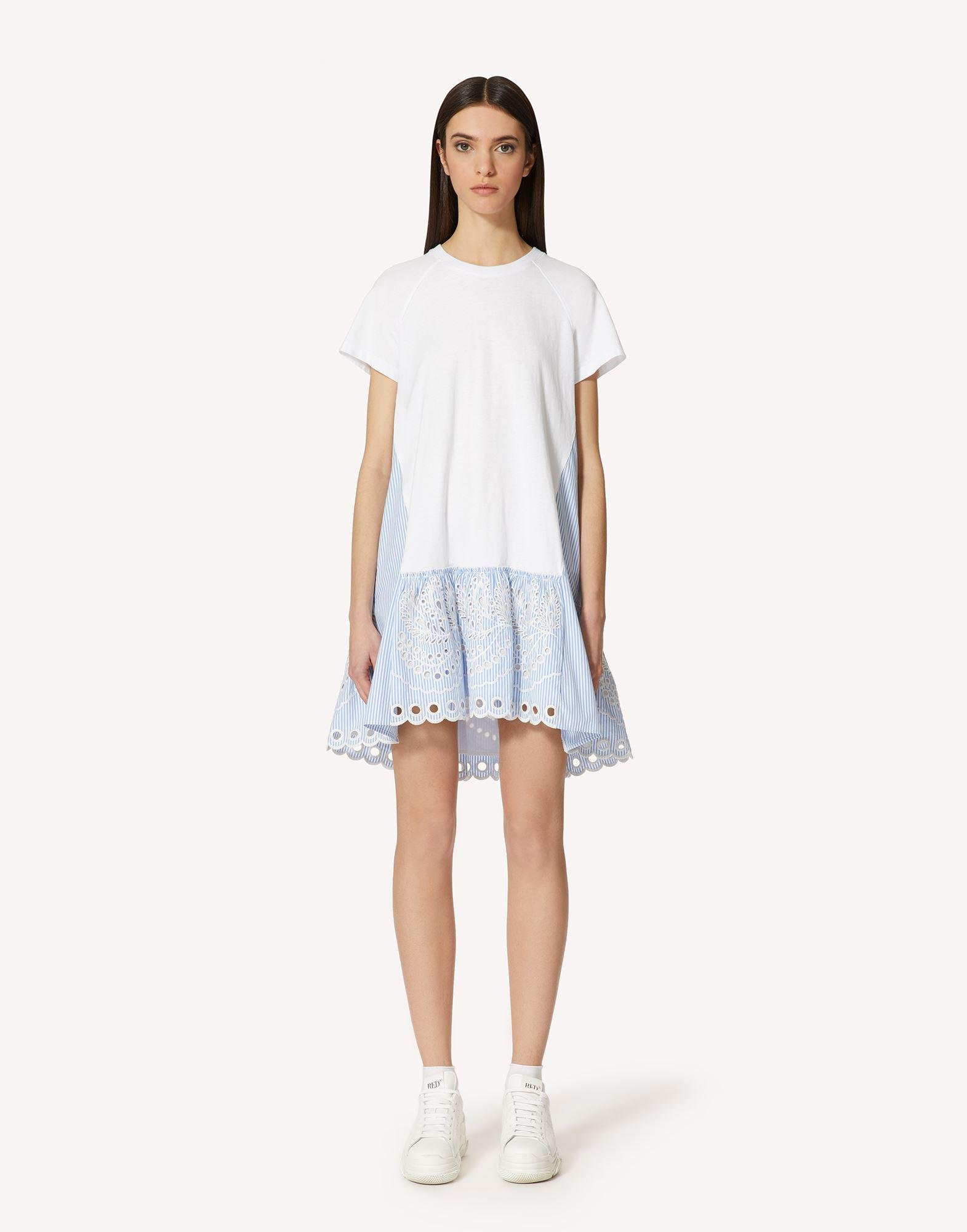T-SHIRT DRESS WITH STRIPED COTTON POPLIN AND SANGALLO EMBROIDERY
