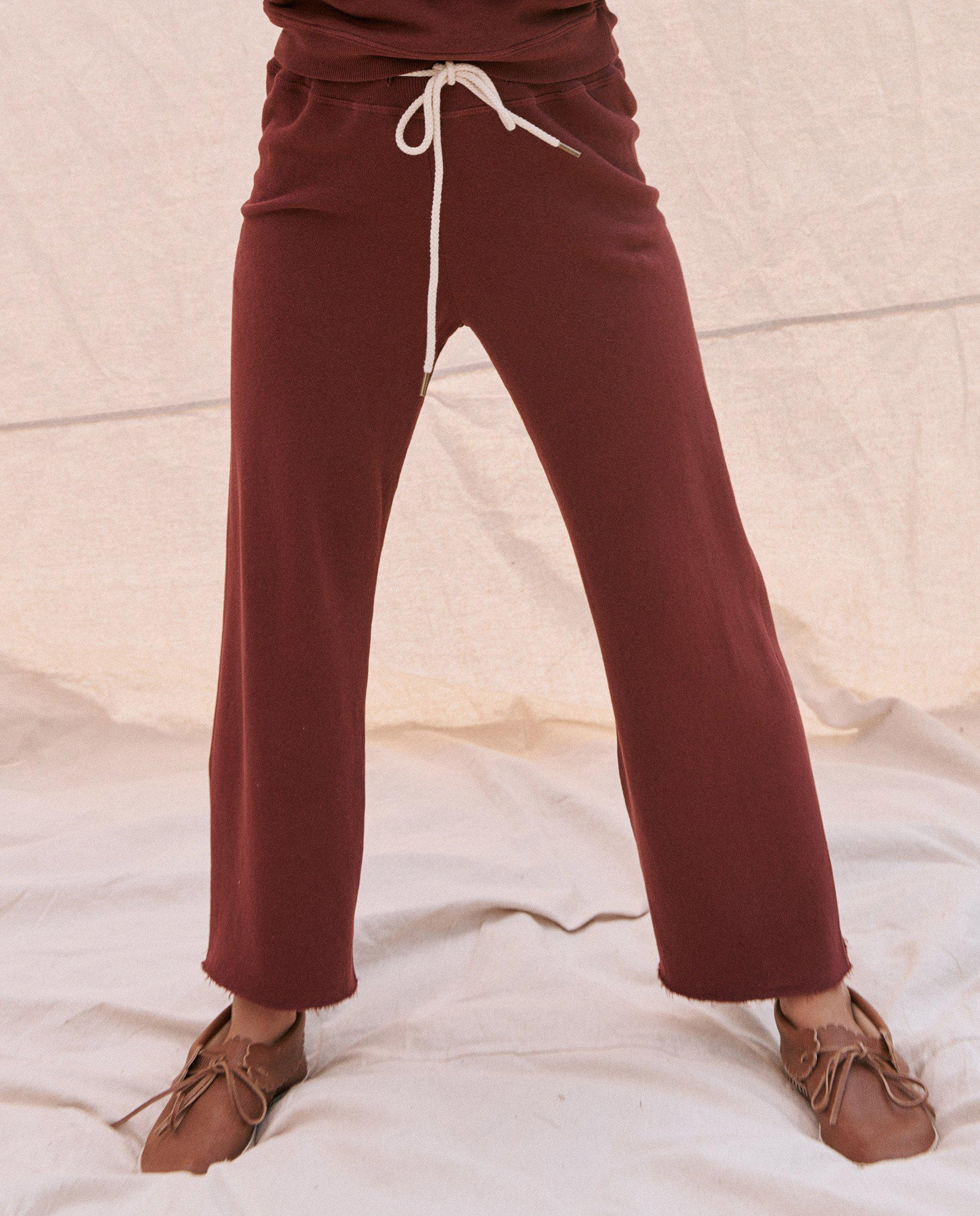 The Wide Leg Cropped Sweatpant. -- Maroon