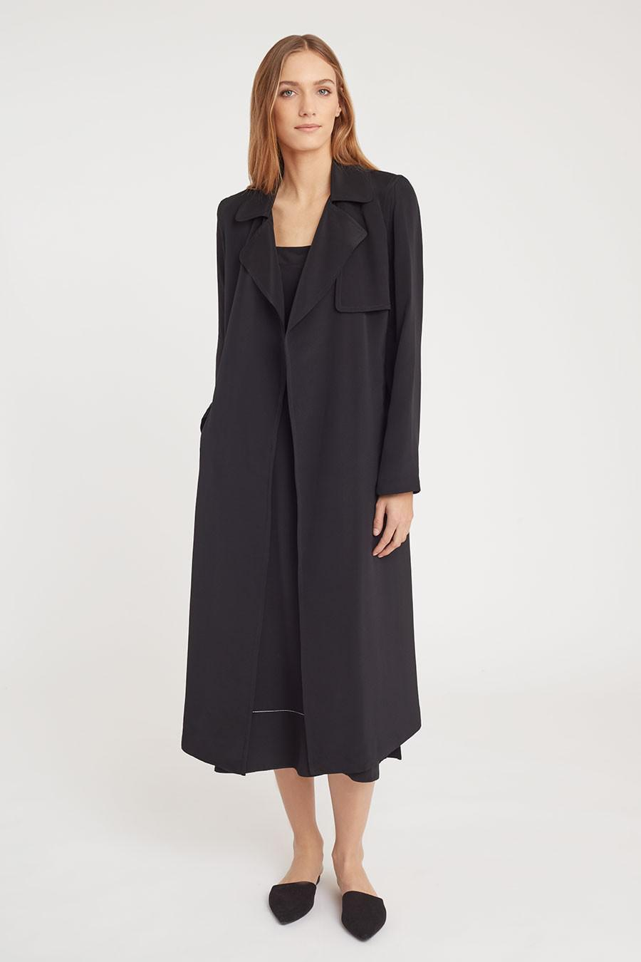 Women's Silk Classic Trench in Black | Size: 1