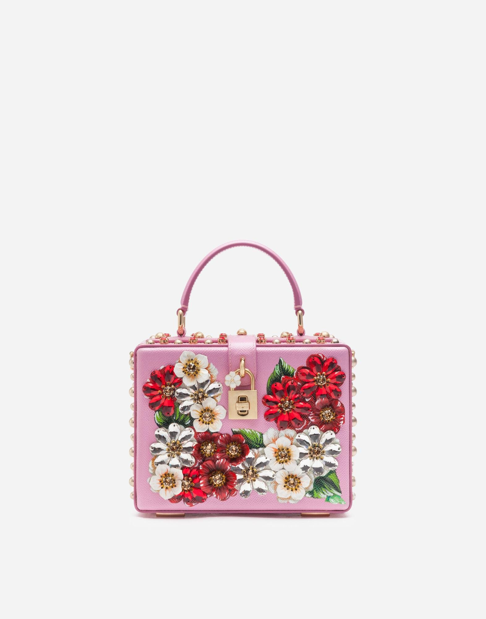 Dolce Box bag in dauphine calfskin with geranium print and embroidery
