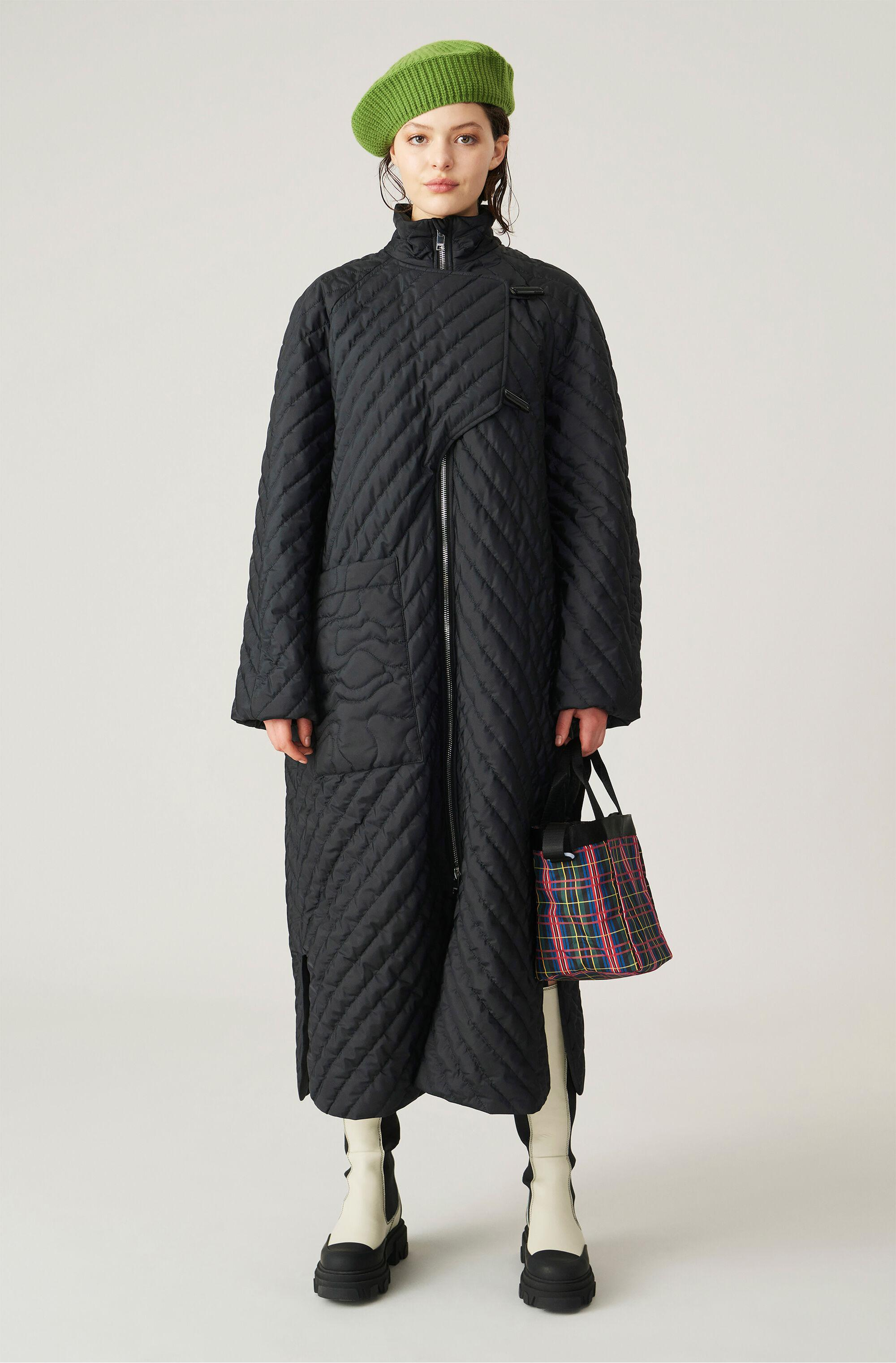 Quilted Recycled Polyester Parka Coat