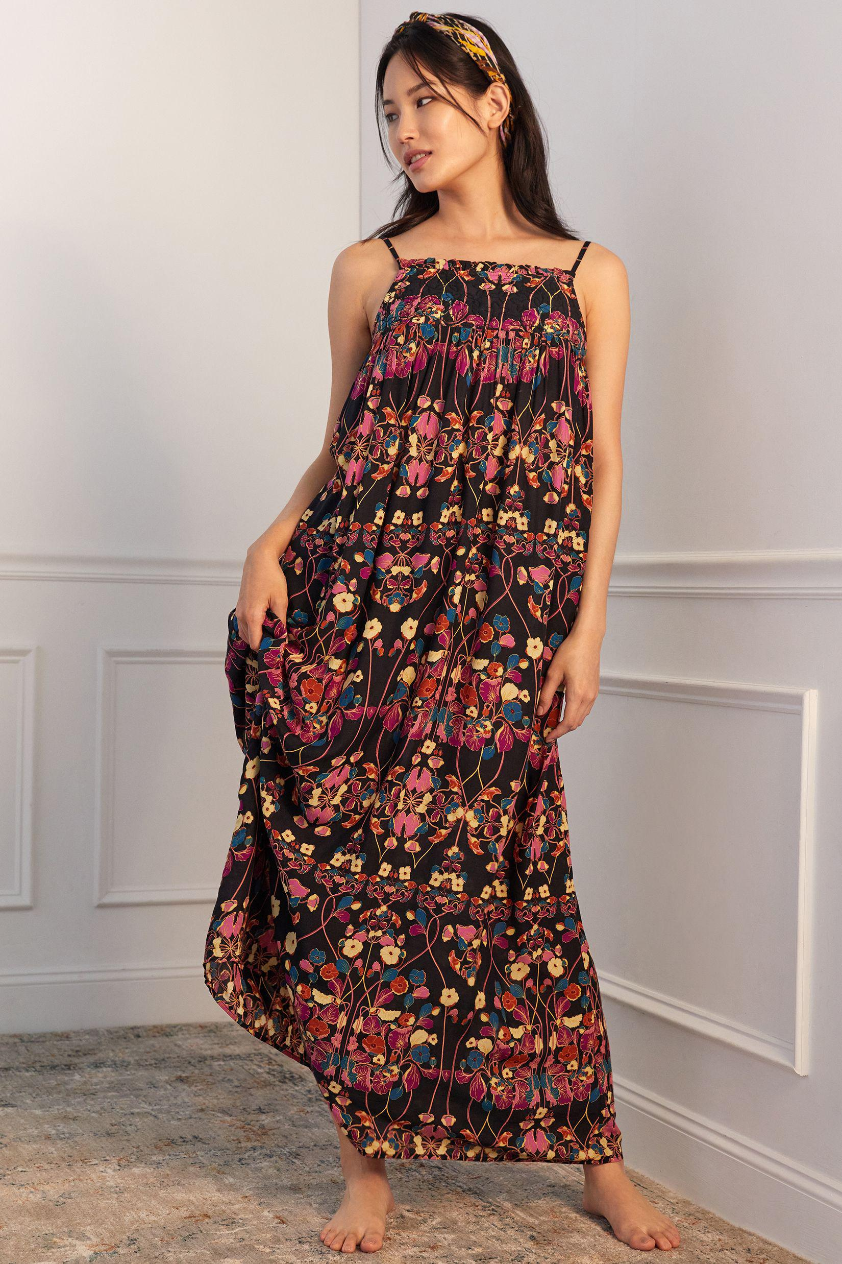 Quilted Floral Maxi Dress